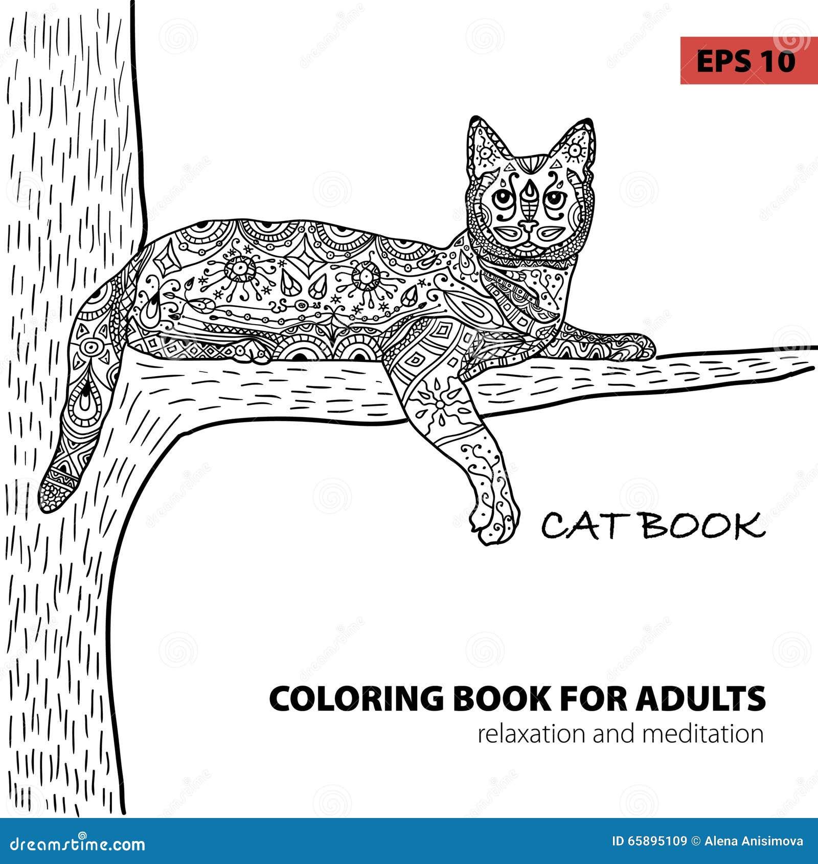 Libro Da Colorare Per Gli Adulti Libro Del Gatto Dello Zentangle