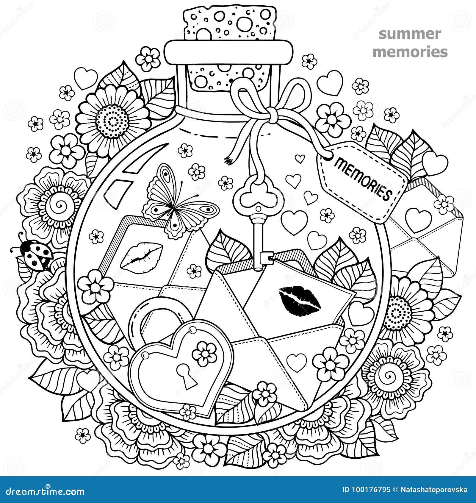 Libro da colorare per gli adulti una nave di vetro con le - Pagine da colorare per le farfalle ...