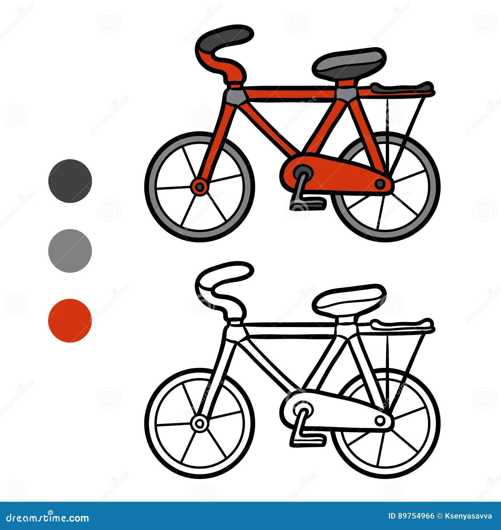Libro Da Colorare Per I Bambini Bicicletta Illustrazione Vettoriale