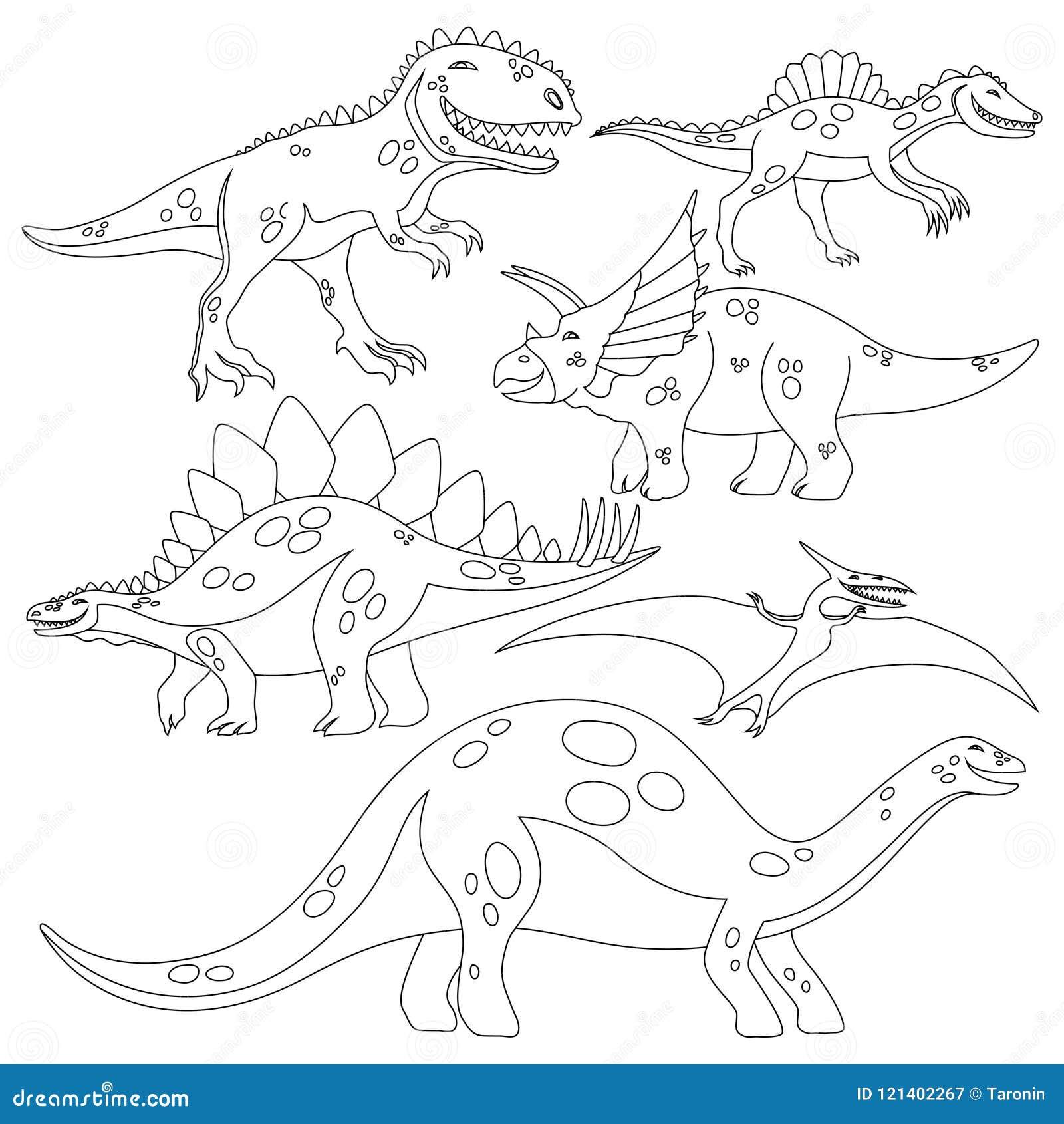 Dinosauro Da Colorare Per Bambini.Libro Da Colorare Per I Bambini Con Un Insieme Dei Dinosauri Illustrazione Vettoriale Illustrazione Di Nero Segno 121402267