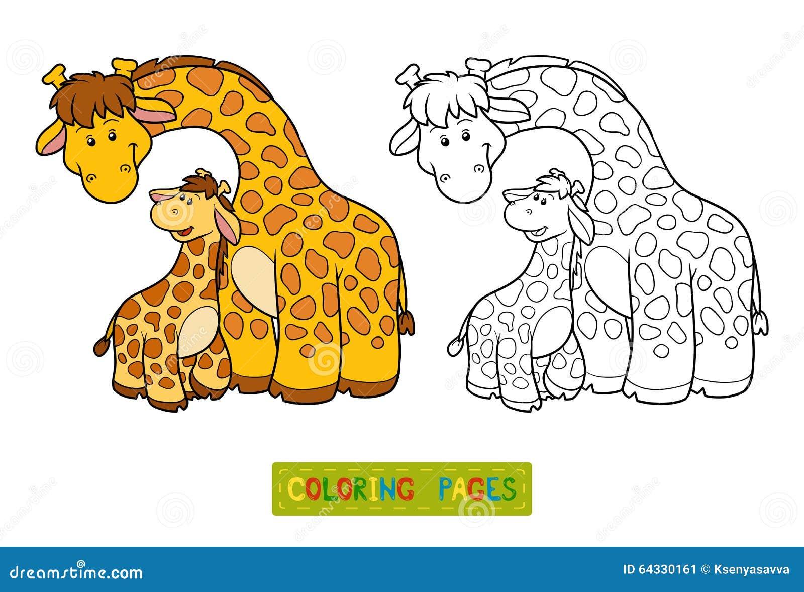 Libro Da Colorare Per I Bambini Due Giraffe Illustrazione