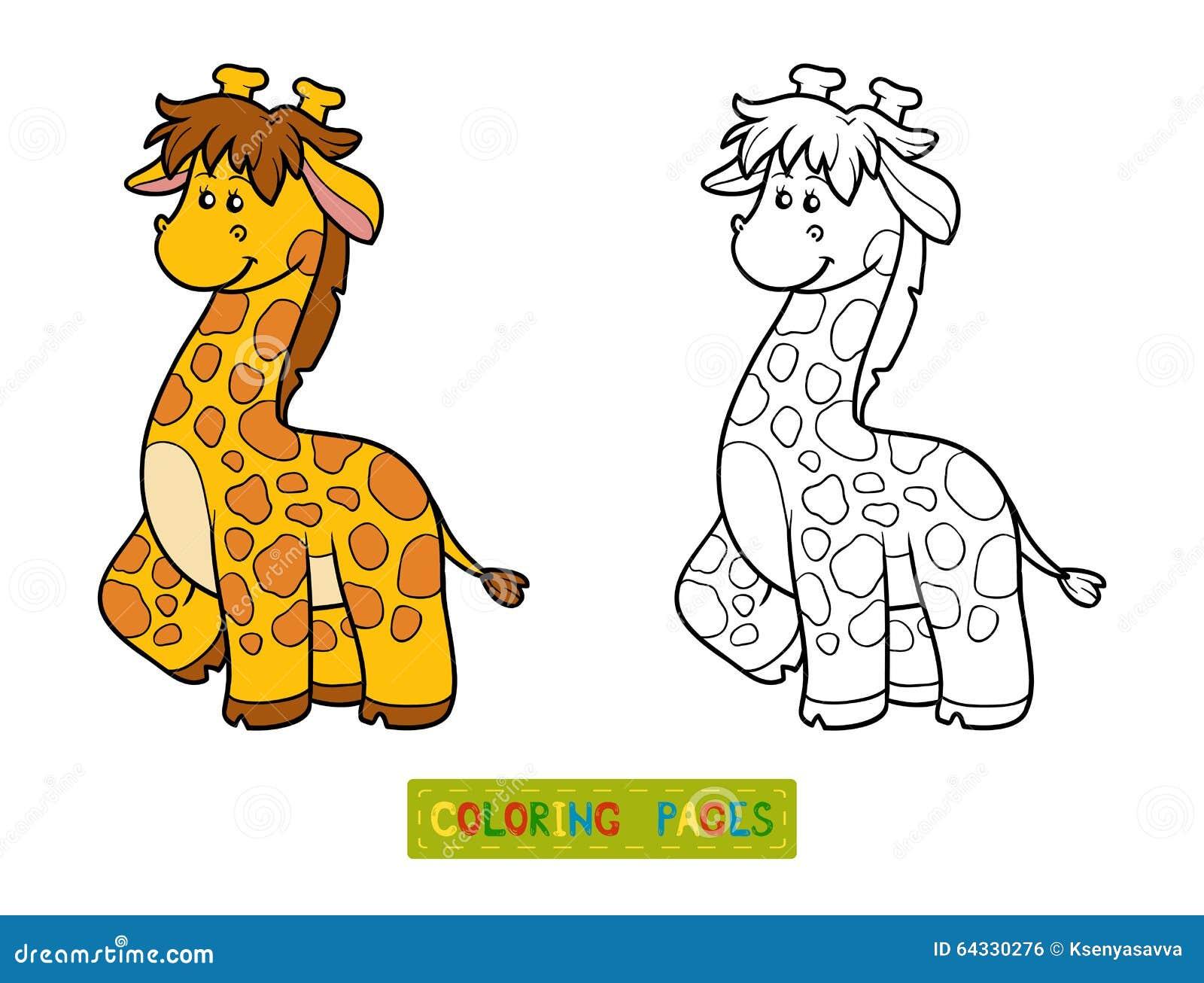 Libro Da Colorare Per I Bambini Giraffa Illustrazione Vettoriale
