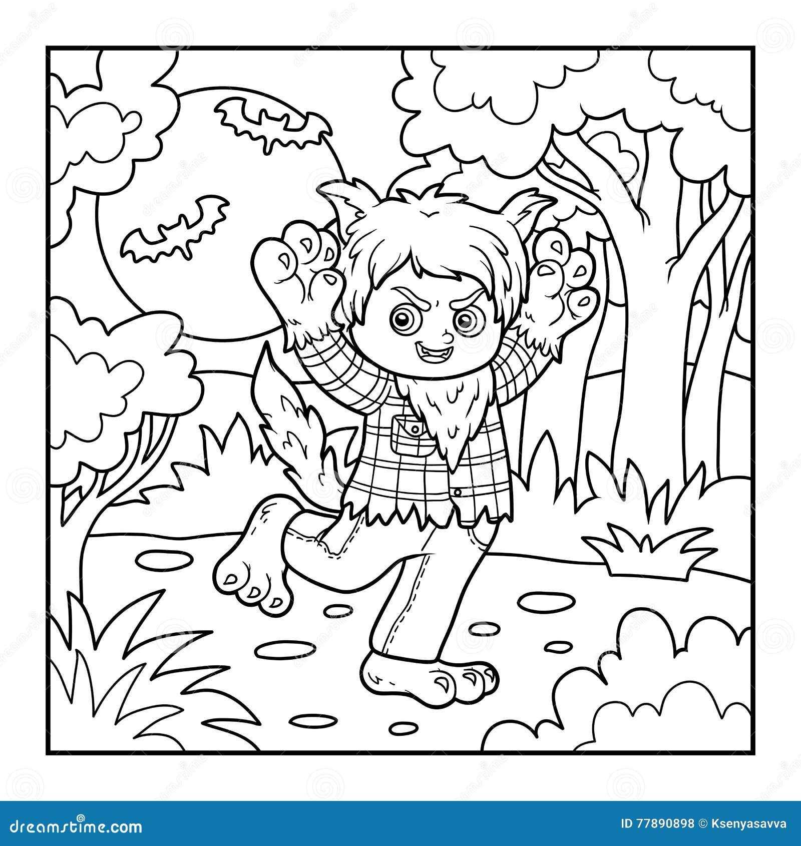 Libro Da Colorare Per I Bambini Lupo Mannaro Illustrazione