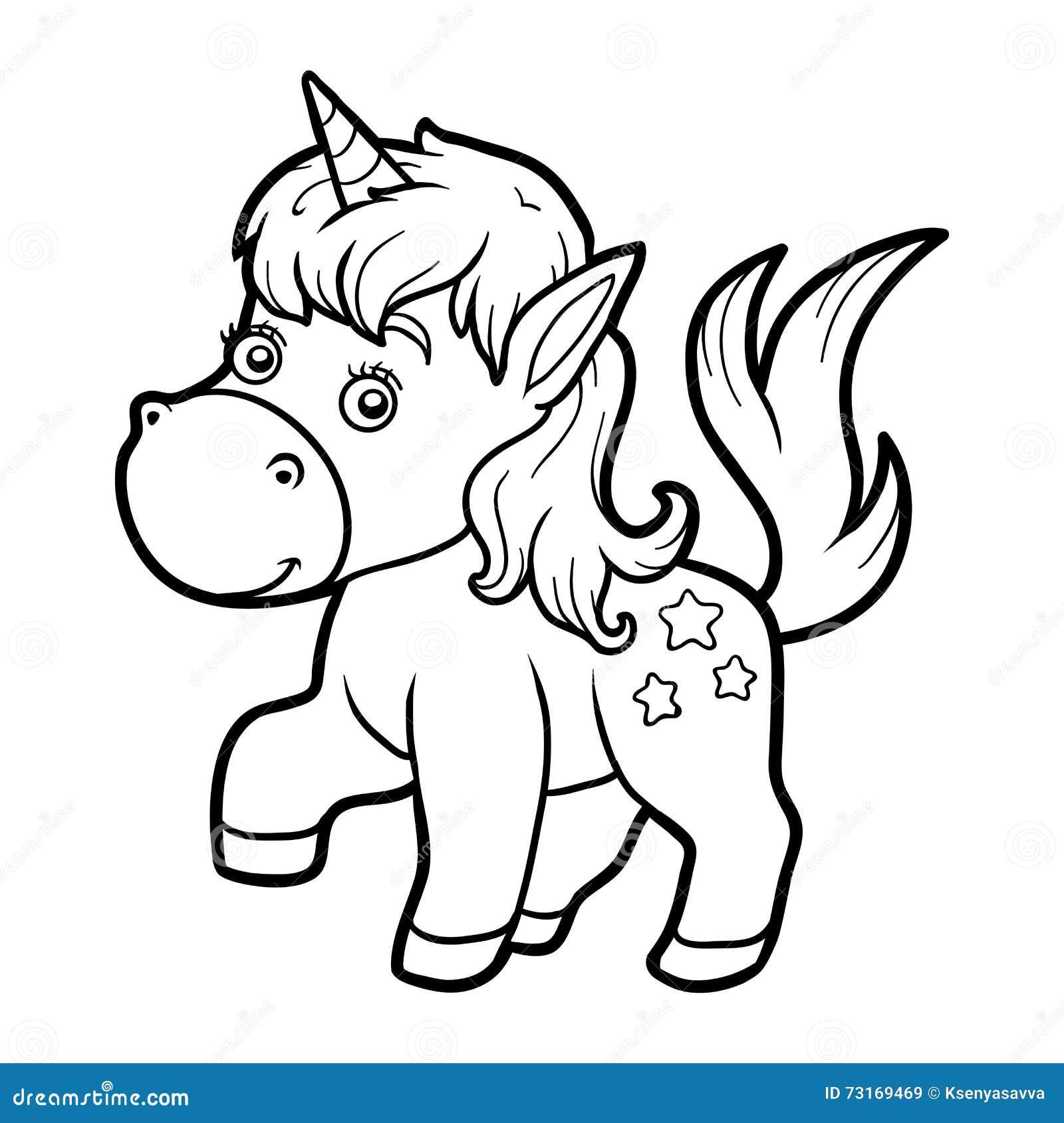 Libro Da Colorare Per I Bambini Piccolo Unicorno Illustrazione