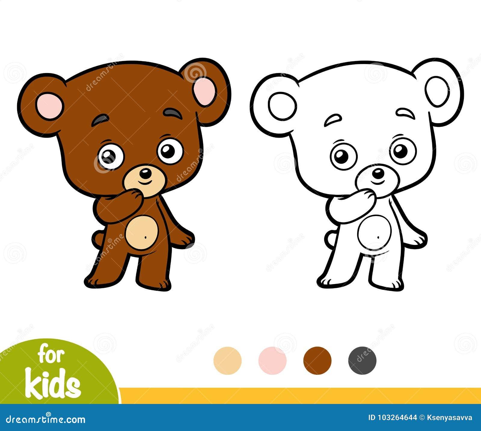 Libro Da Colorare Per I Bambini Poco Orso Illustrazione Vettoriale
