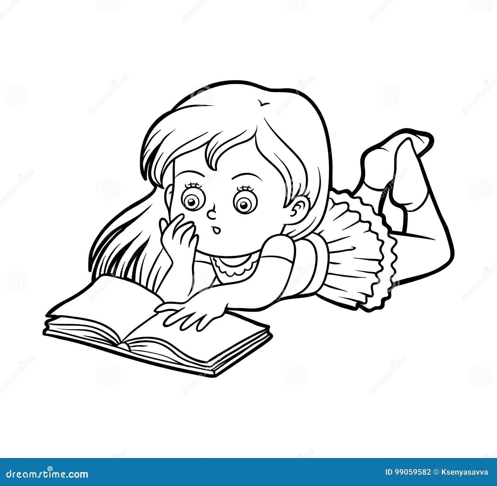 Libro Da Colorare Ragazza Che Legge Un Libro Illustrazione Vettoriale Illustrazione Di Asilo Profilo 99059582