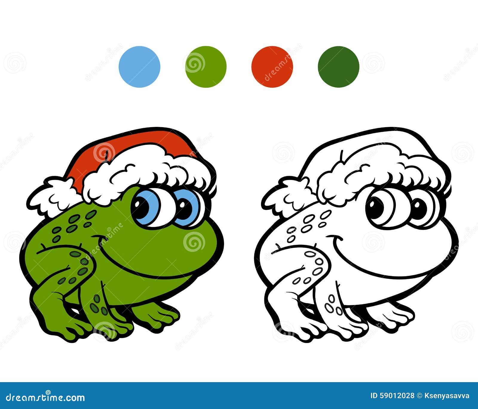 Libro Da Colorare Rana Di Natale Illustrazione Vettoriale
