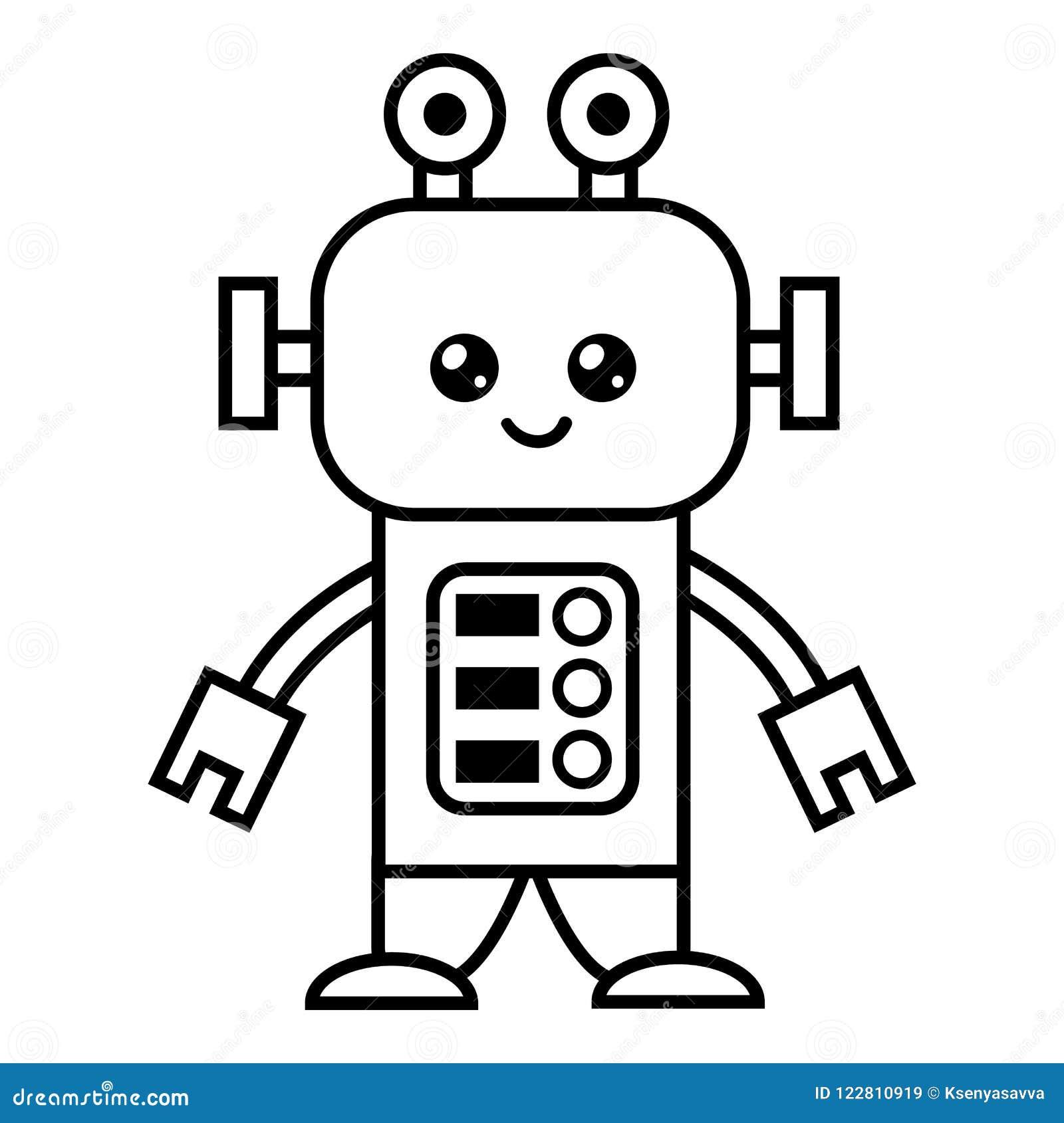 Libro Da Colorare Robot Illustrazione Vettoriale Illustrazione