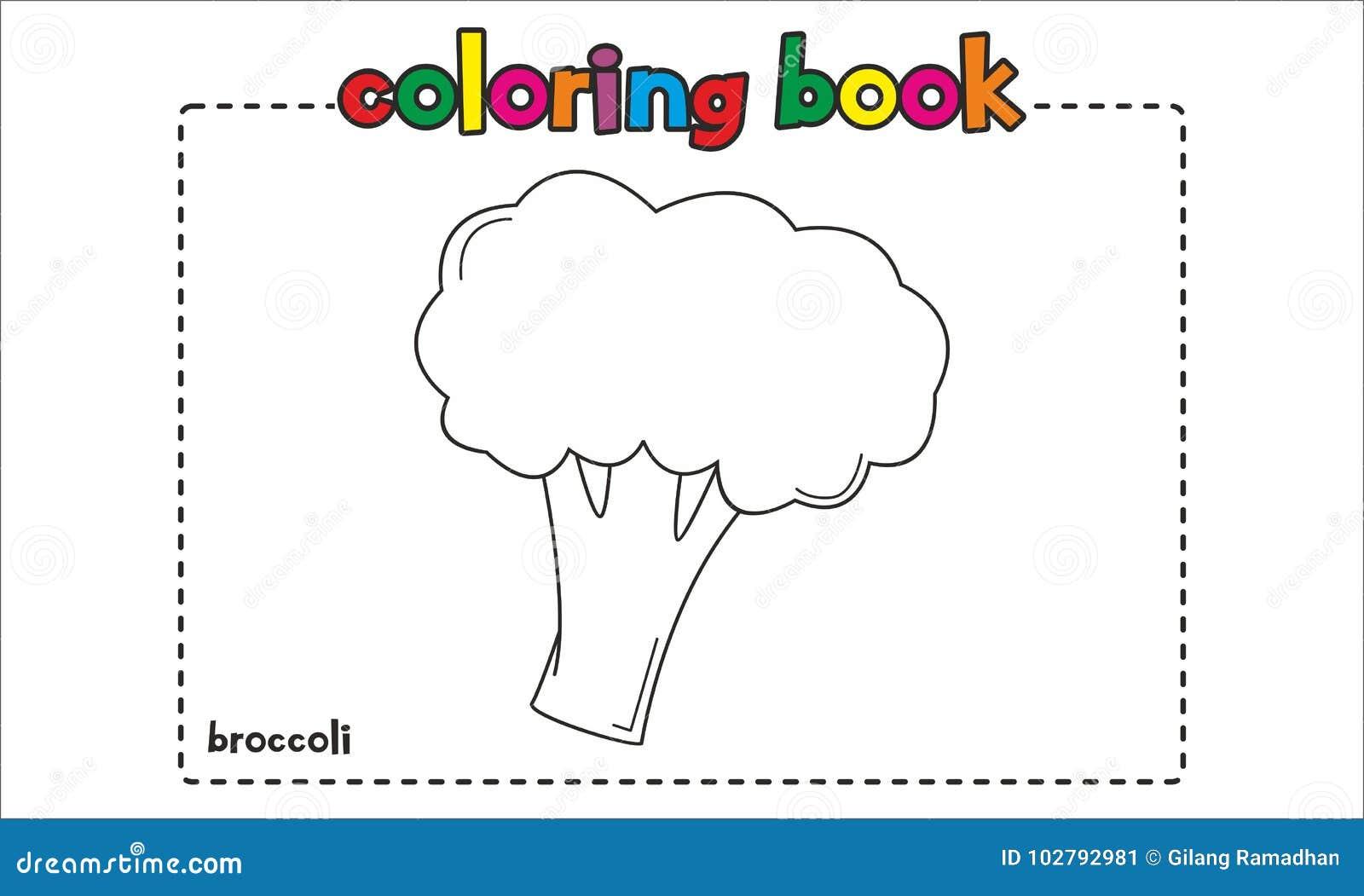 Libro Da Colorare Semplice Dei Broccoli Per I Bambini Ed I Bambini