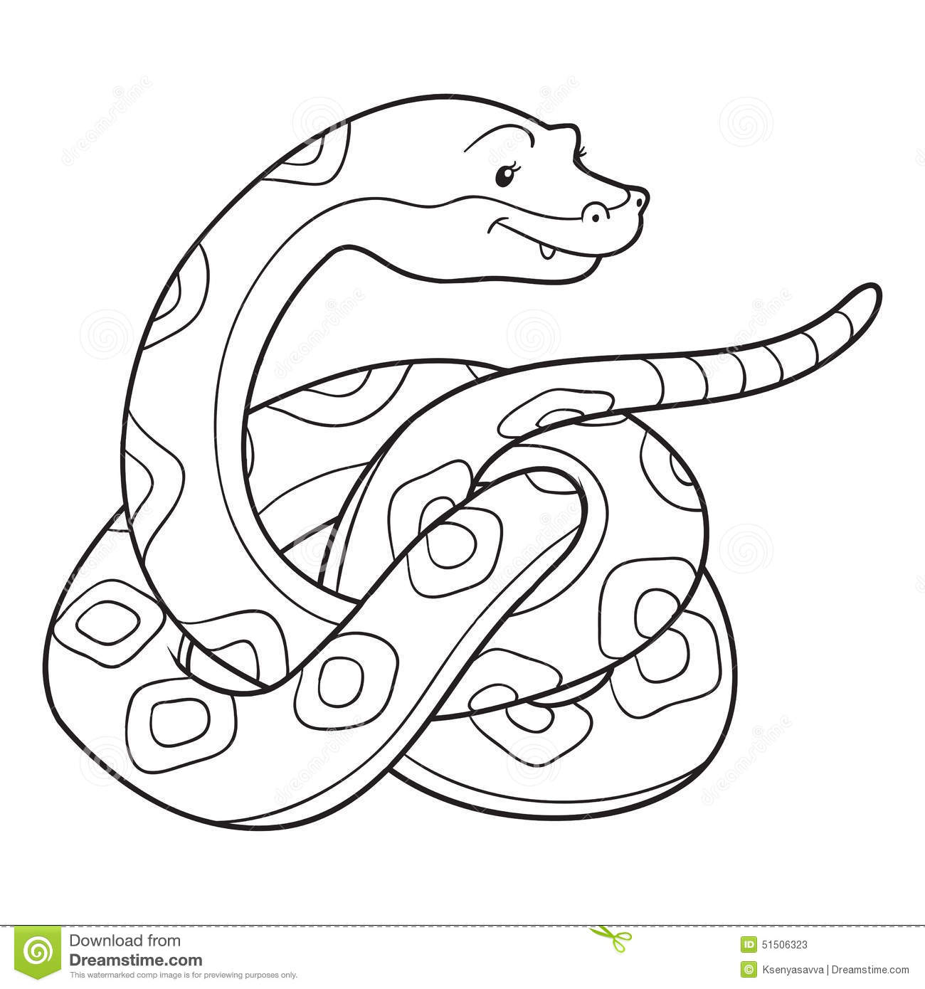 Libro Da Colorare Serpente Illustrazione Vettoriale