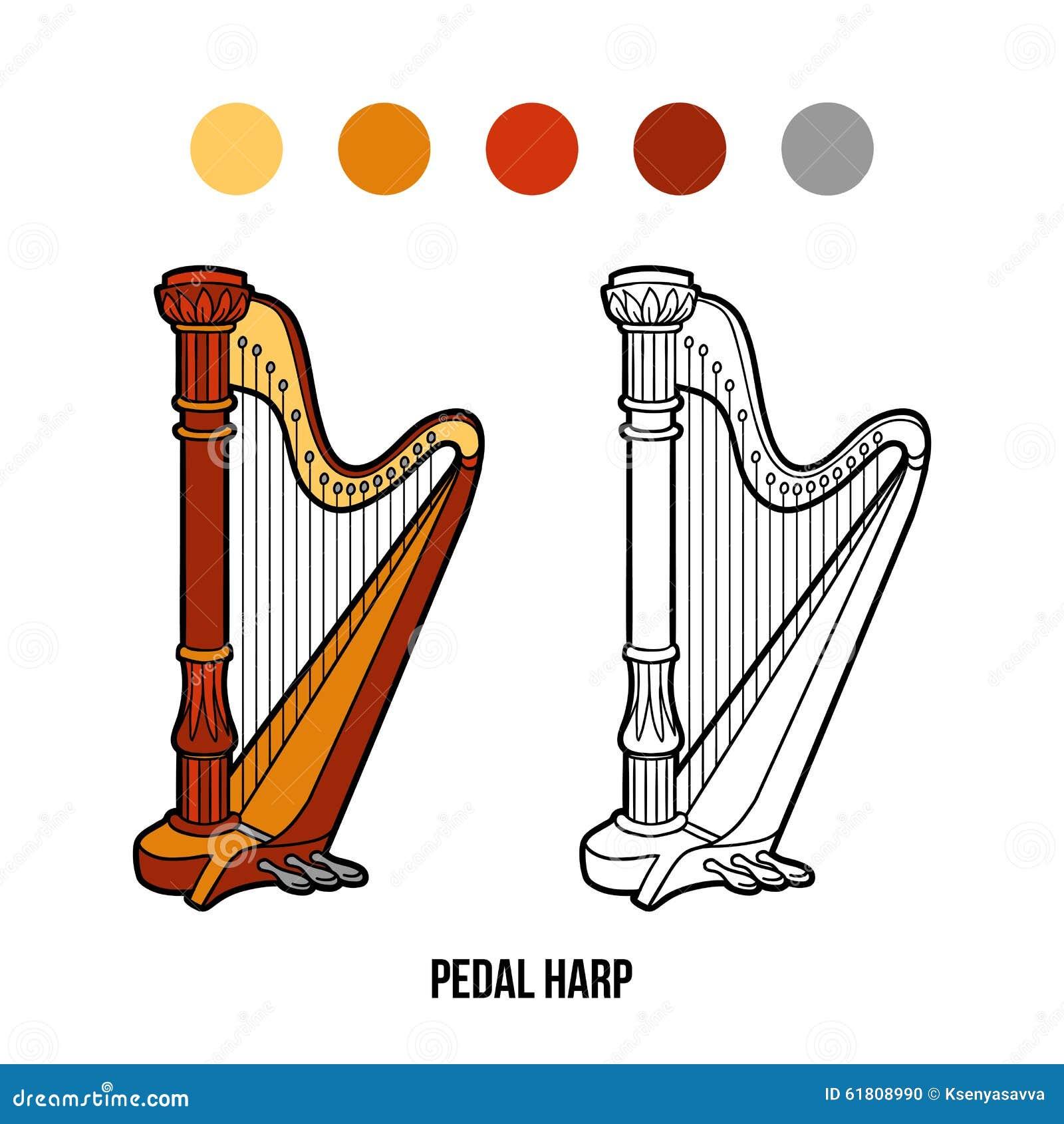 Libro Da Colorare Strumenti Di Musica Arpa Del Pedale