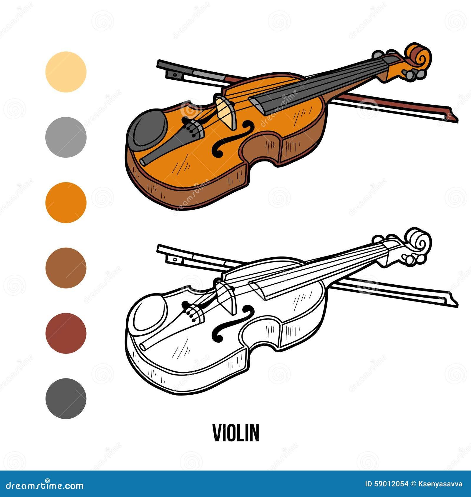 Libro da colorare strumenti musicali violino - Immagini violino a colori ...