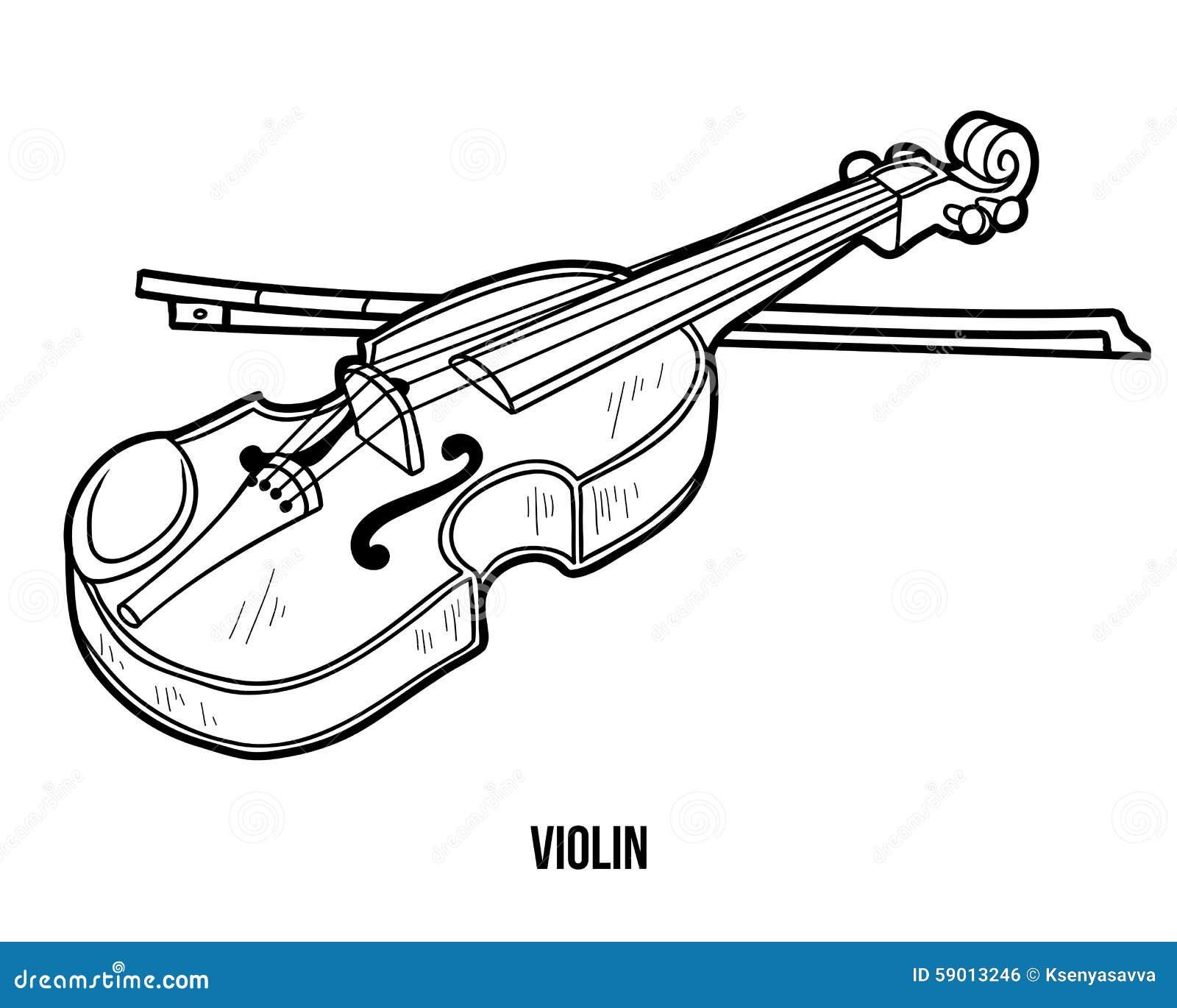 Libro Da Colorare Strumenti Musicali Violino Illustrazione