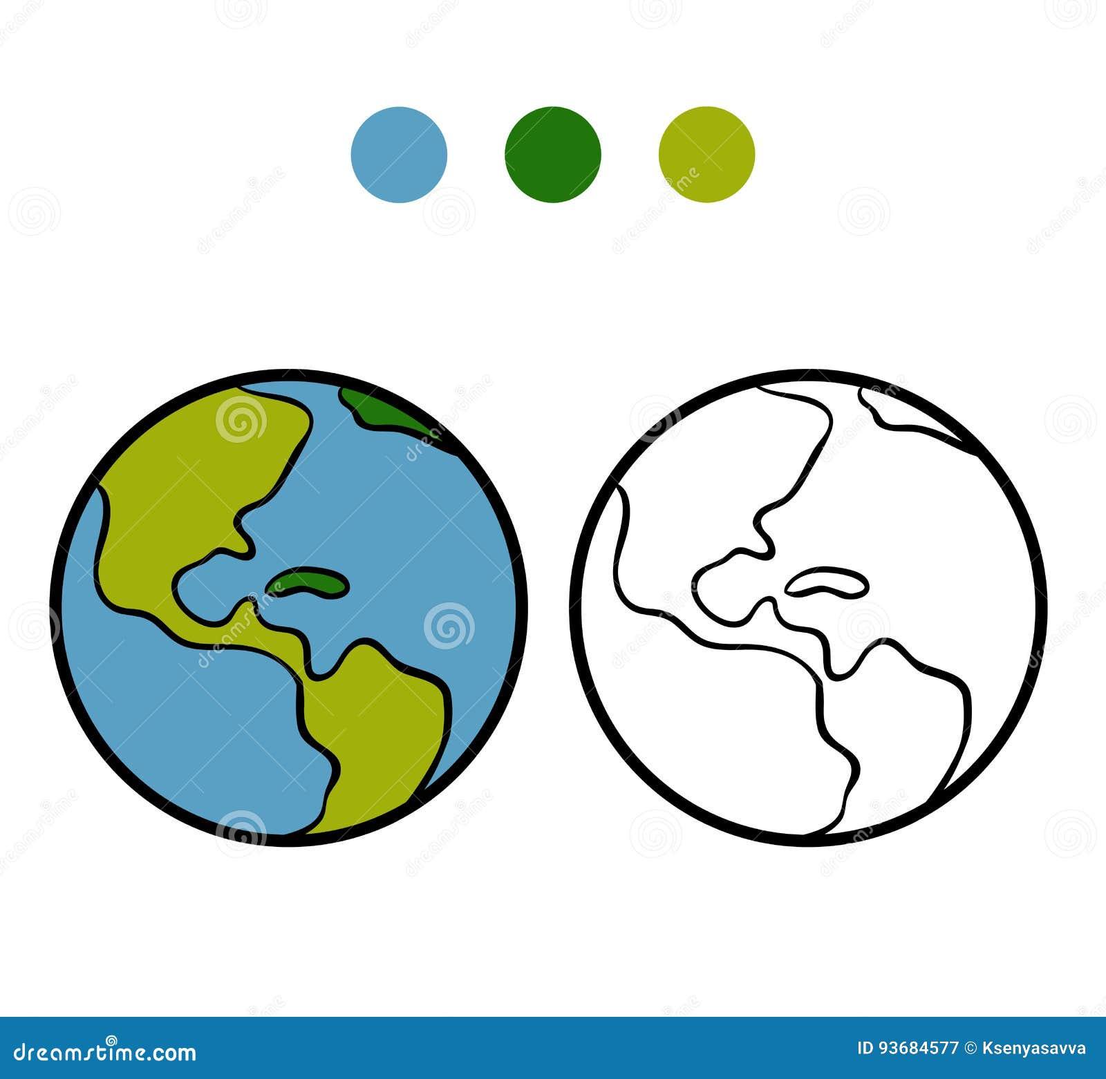 Libro Da Colorare Terra Illustrazione Vettoriale Illustrazione Di Colore 93684577