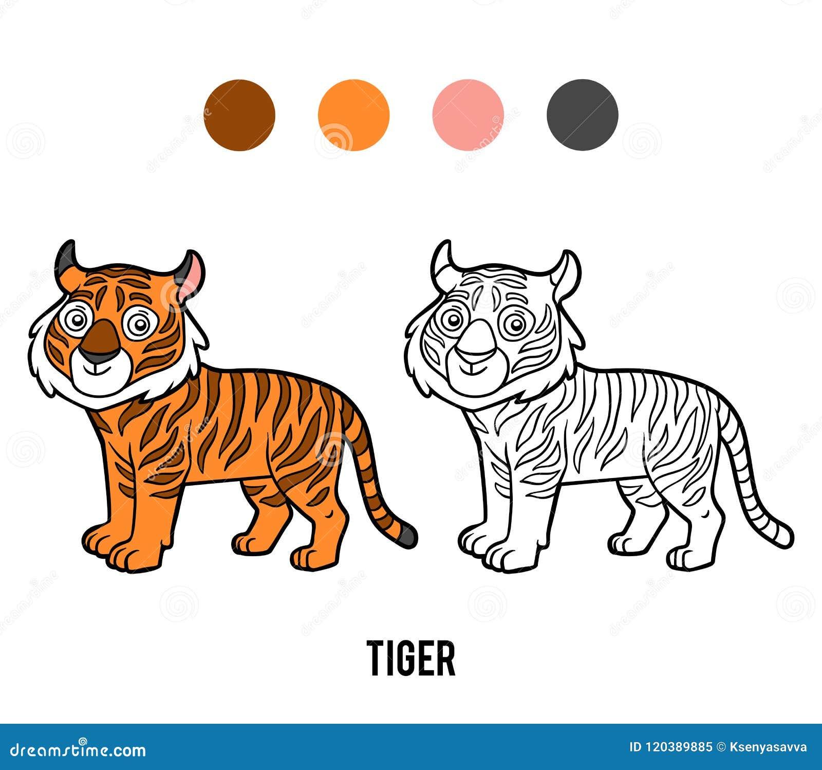 Libro Da Colorare Tigre Illustrazione Vettoriale Illustrazione Di