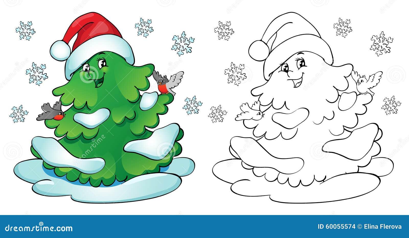 Libro de colorante Árbol de navidad con los piñoneros y los copos de nieve