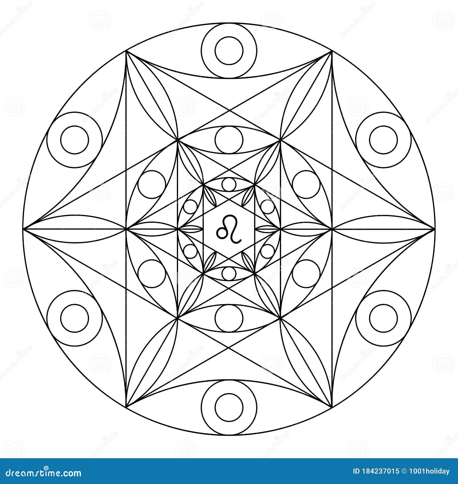 Libro De Coloreado De Geometría Sagrada Mandala Del Signo Zodiaco De Leo Ilustración Del Vector Ilustración De Zodiacal Mandala 184237015