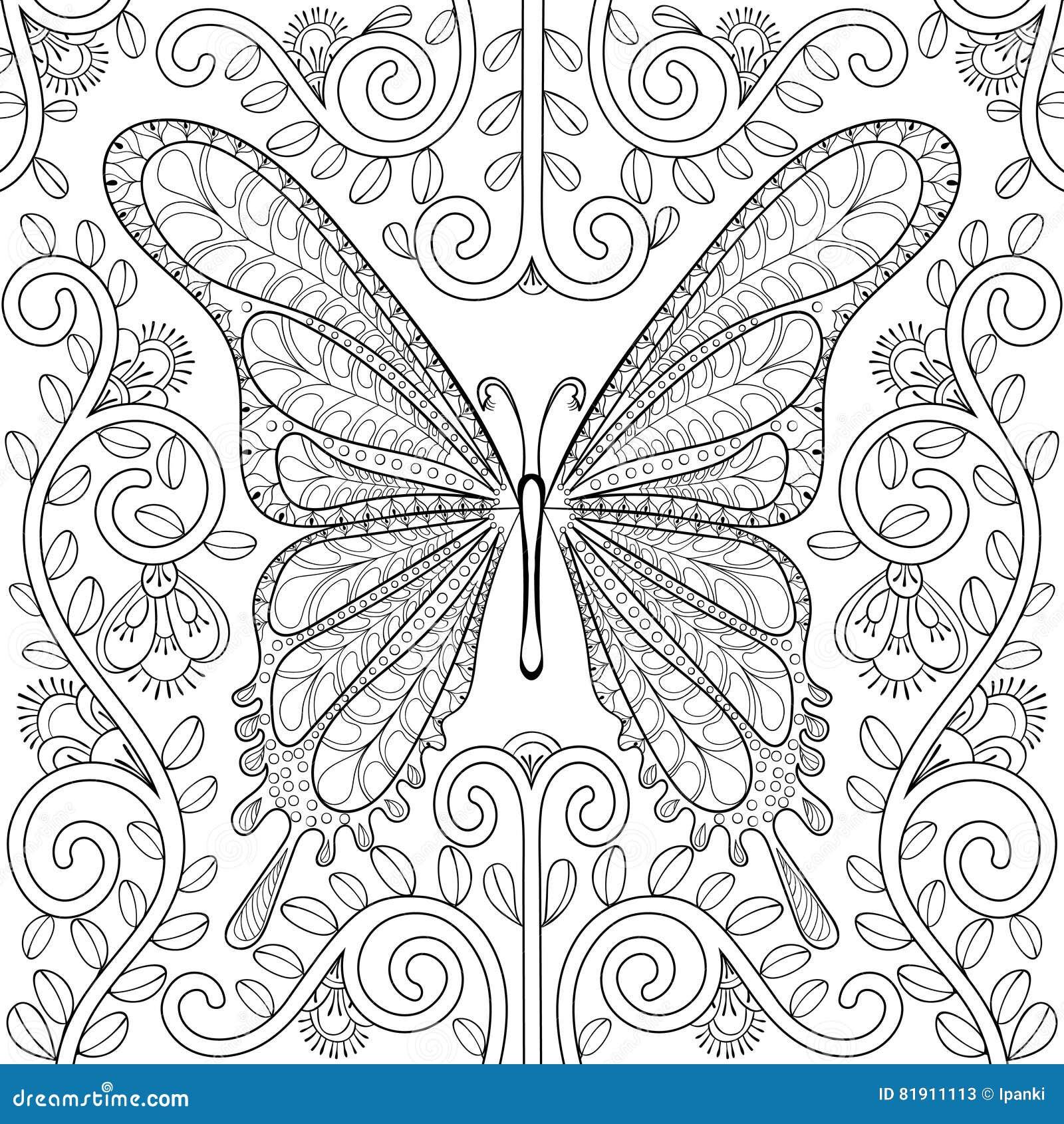 Libro De Colorear Adulto Con La Mariposa En Páginas De Las Flores ...