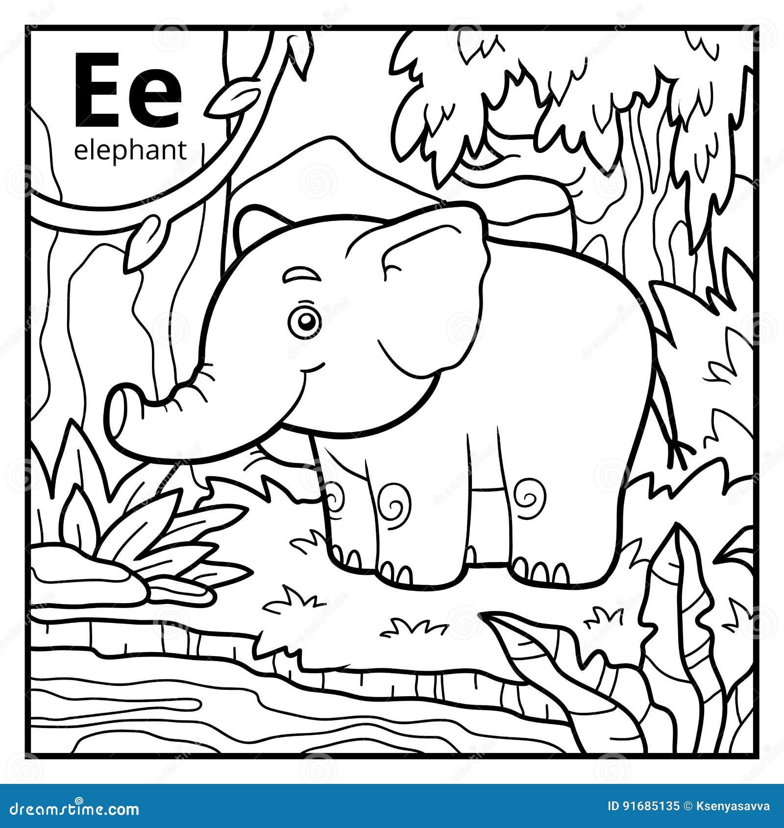 Libro De Colorear, Alfabeto Descolorido Letra E, Elefante ...