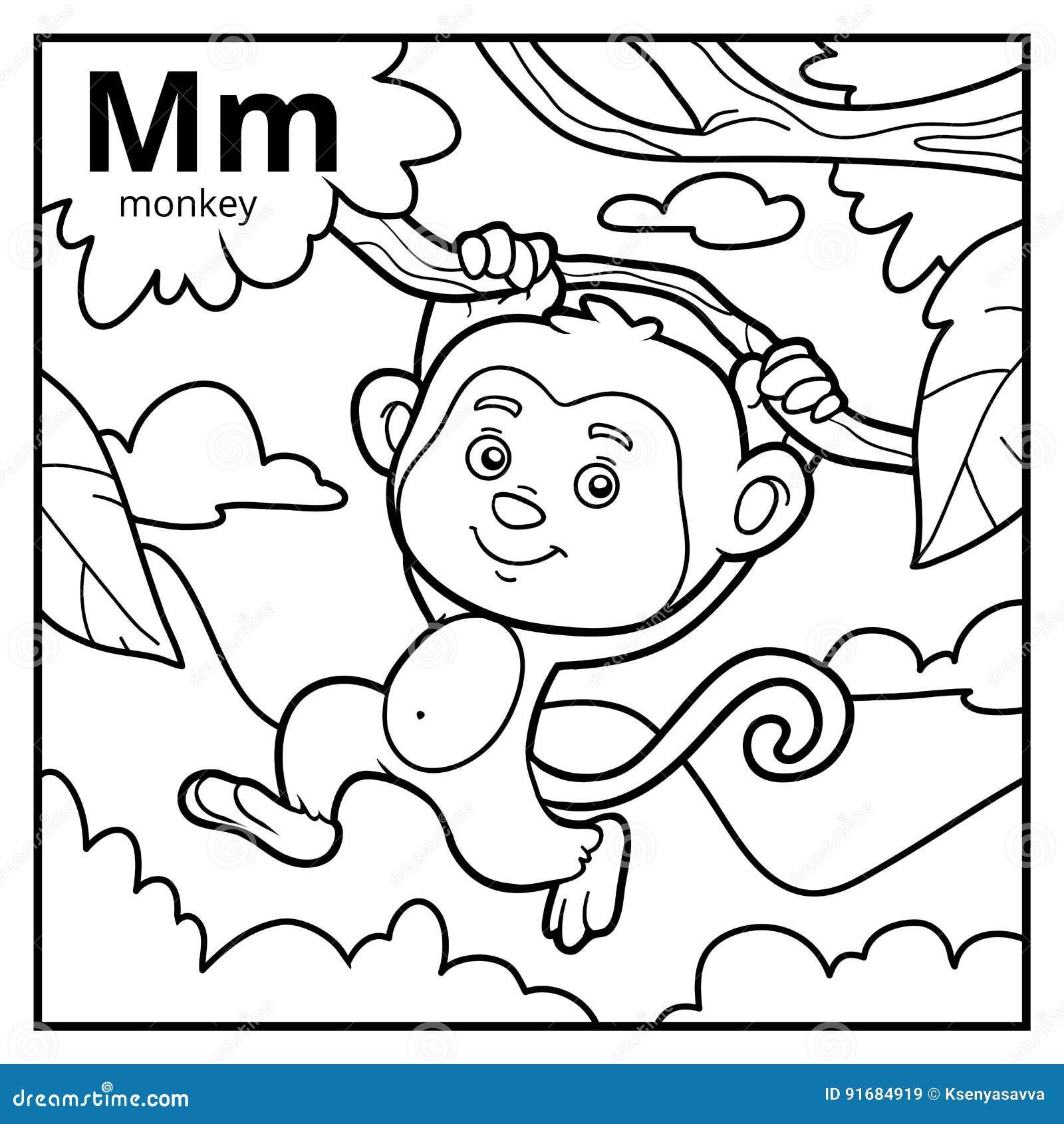 Libro De Colorear, Alfabeto Descolorido Letra M, Mono Ilustración ...