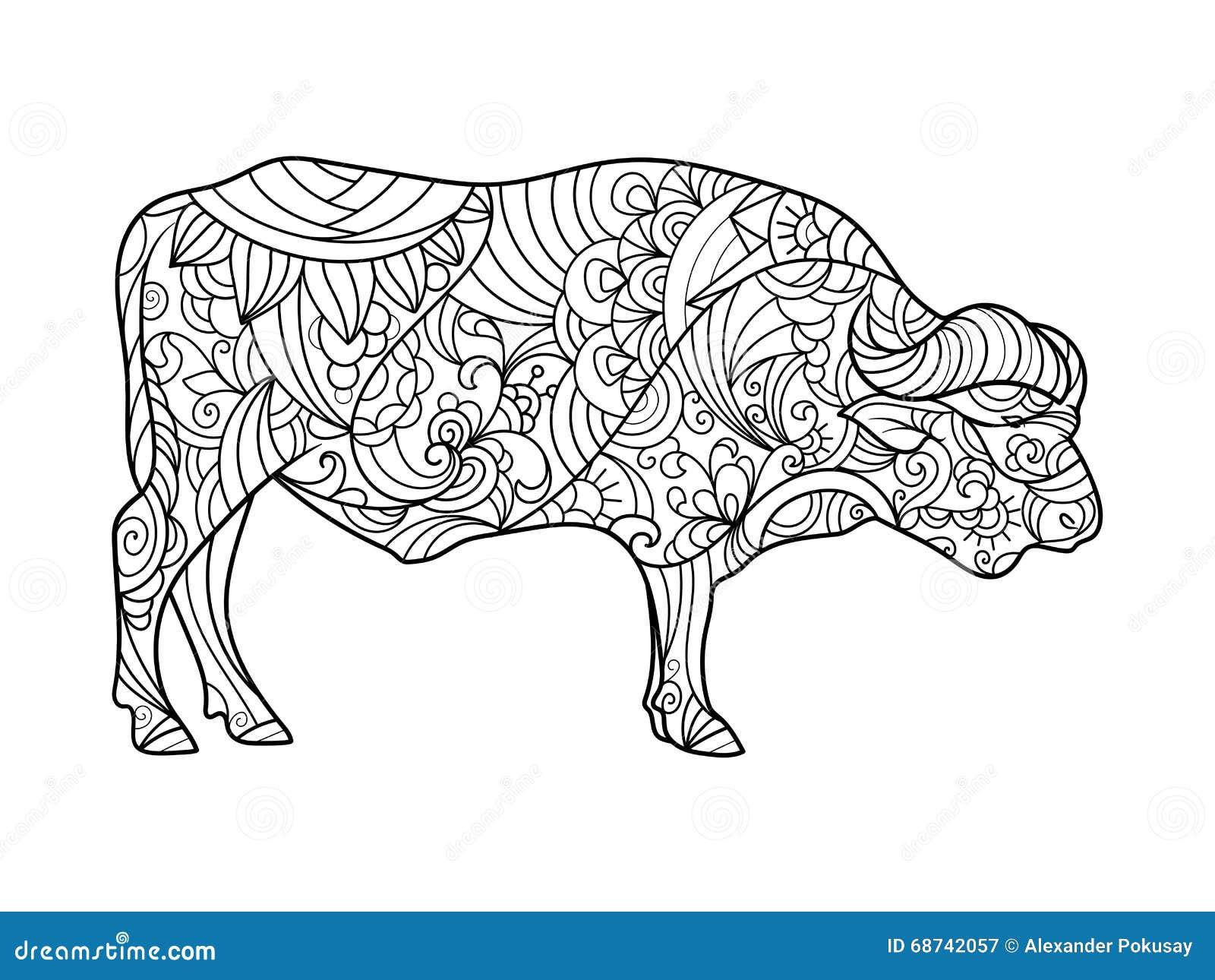 Libro De Colorear Animal Del Búfalo Para El Vector De Los Adultos ...
