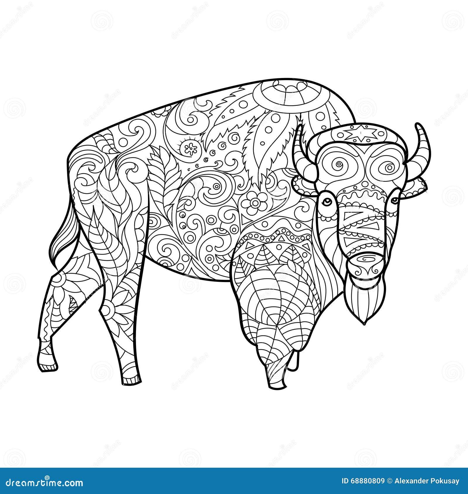 Libro De Colorear Animal Del Bisonte Para El Vector De Los Adultos ...