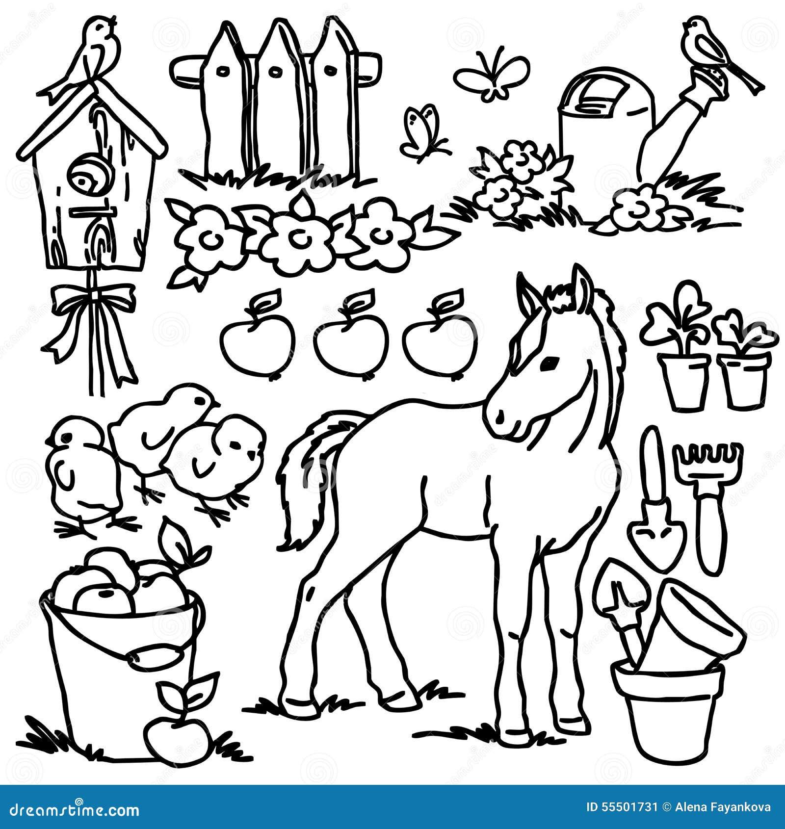 Libro De Colorear Animales Del Campo De La Historieta Stock De