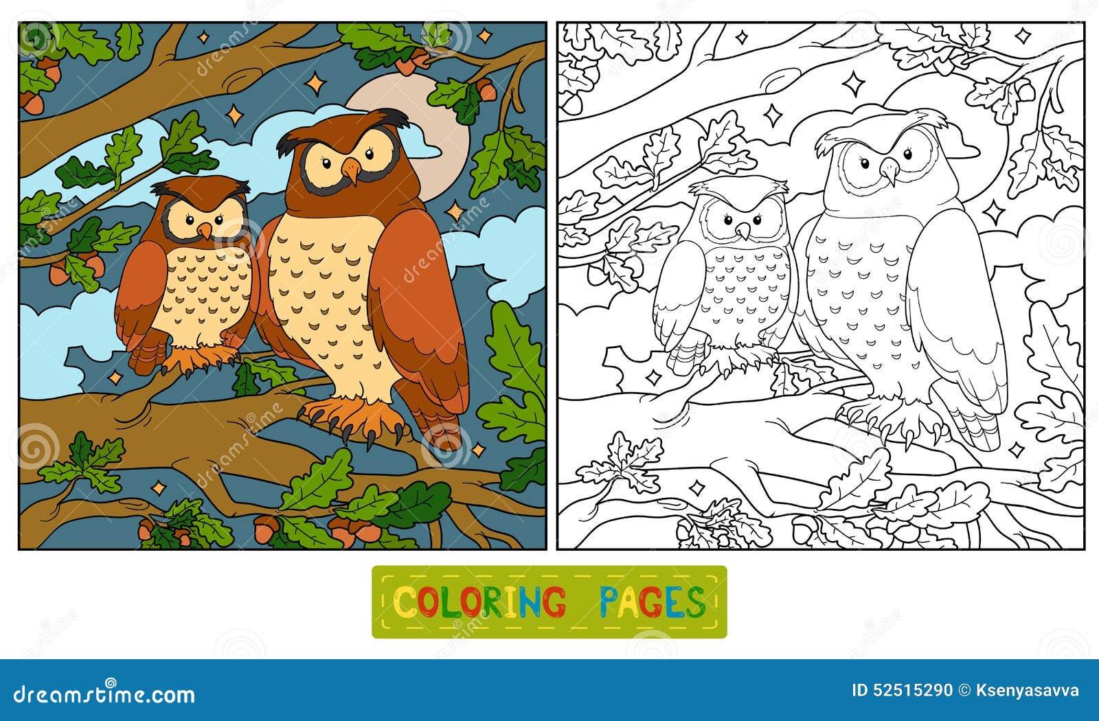 Libro De Colorear Búho Ilustración Del Vector Ilustración