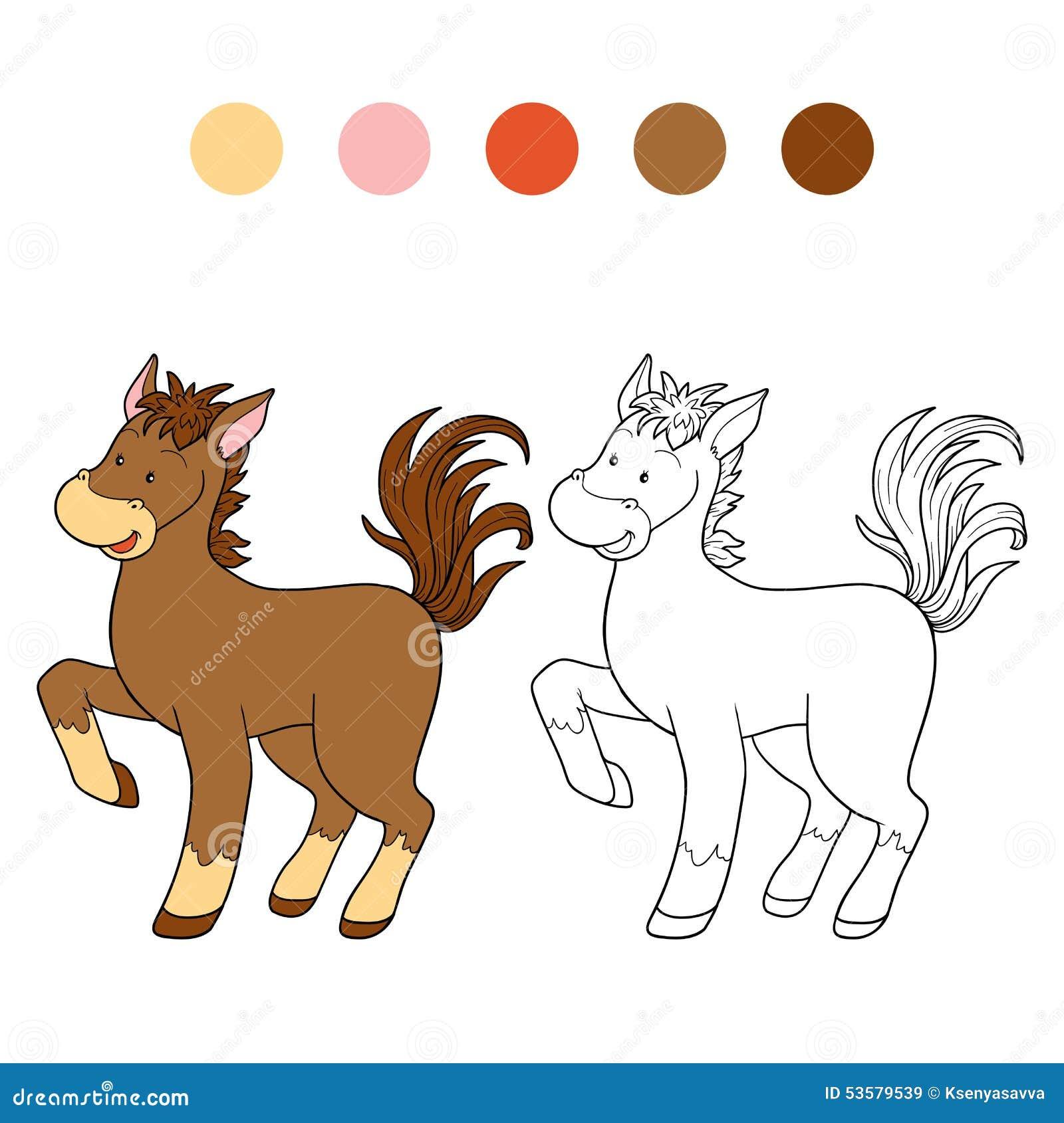 Libro De Colorear (caballo) Ilustración del Vector - Ilustración de ...