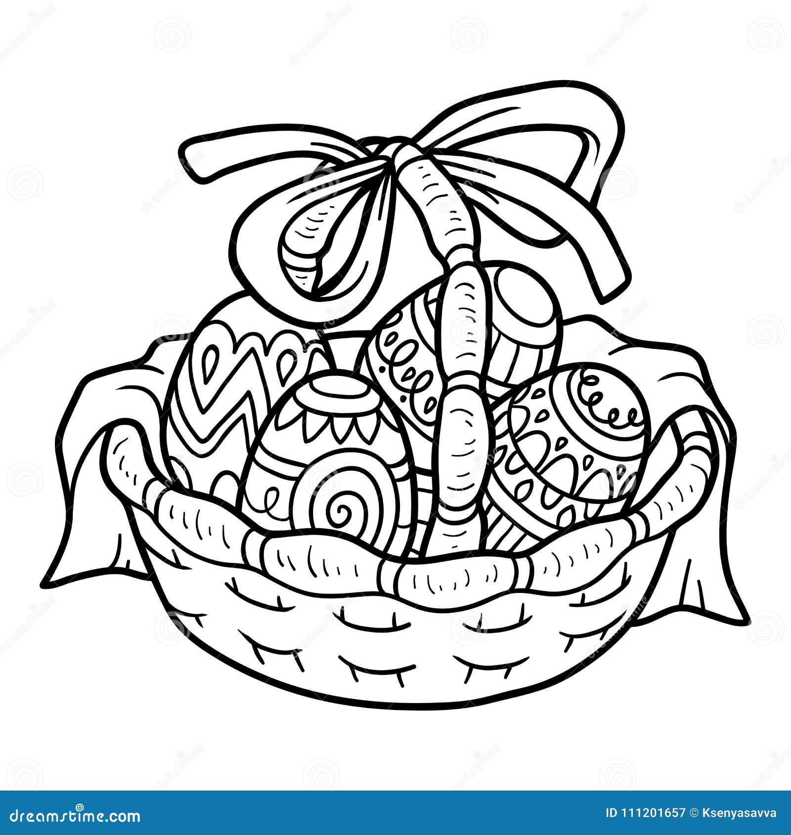 Libro De Colorear, Cesta De Pascua Con Los Huevos Coloreados ...