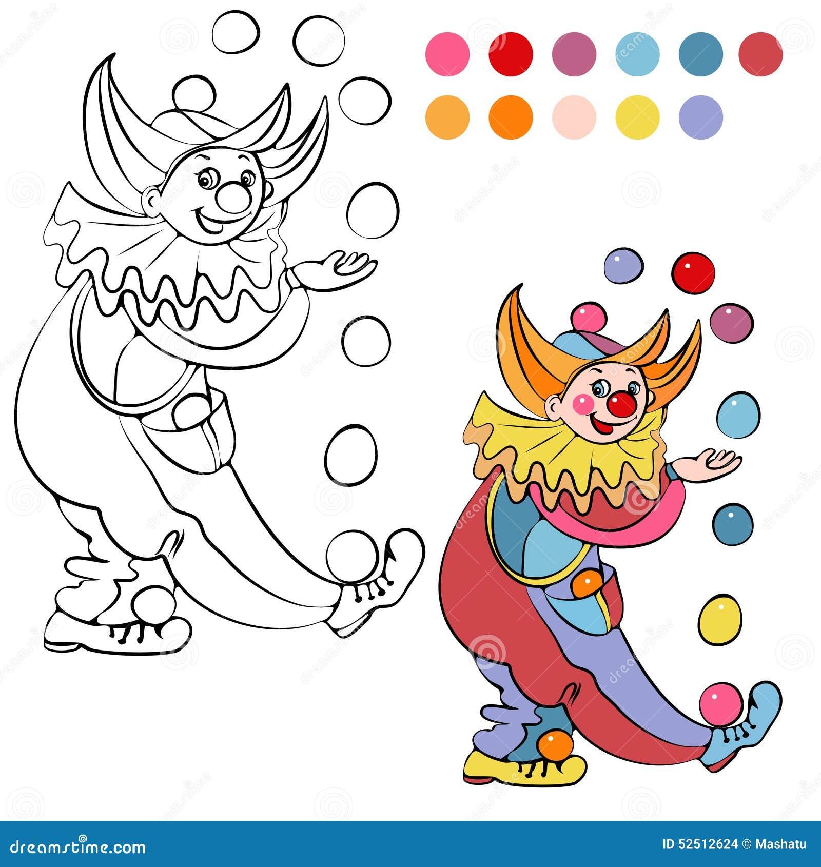 Libro De Colorear Con El Payaso Alegre - Vector Ilustración del ...