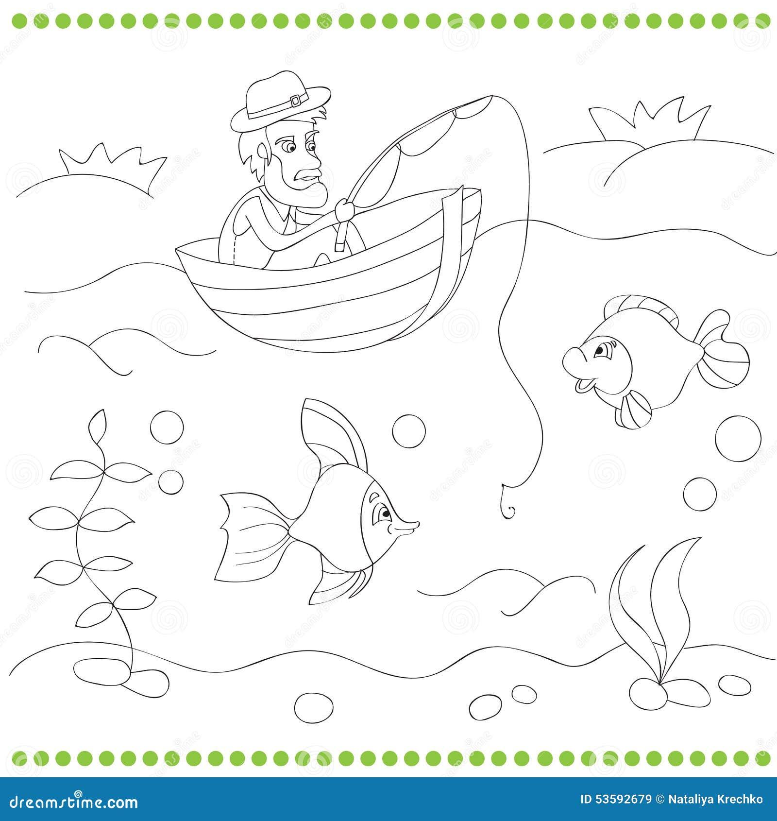 Libro De Colorear Con El Pescador Ilustración del Vector ...