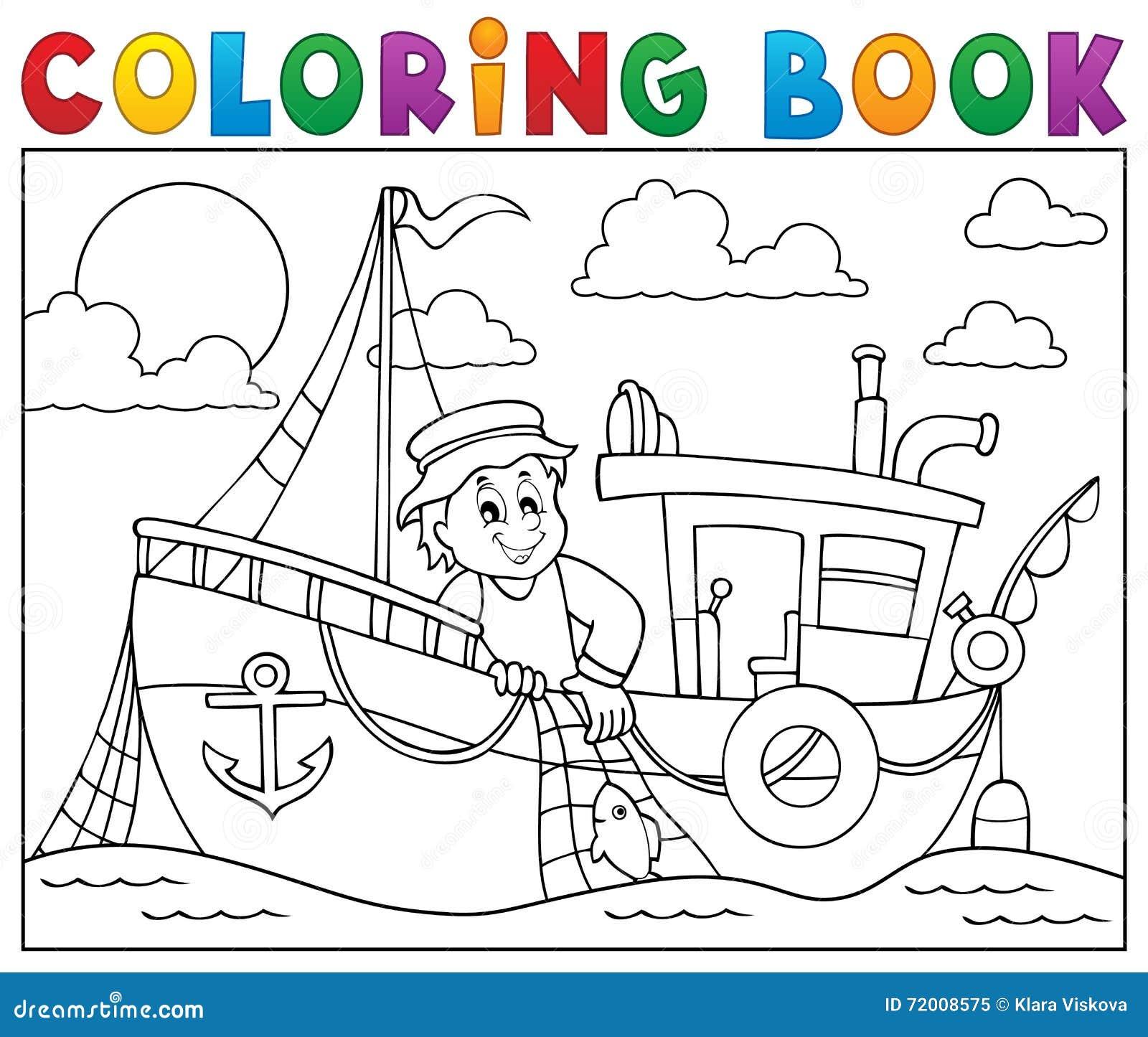 Libro De Colorear Con El Tema 1 Del Barco De Pesca Ilustración del ...