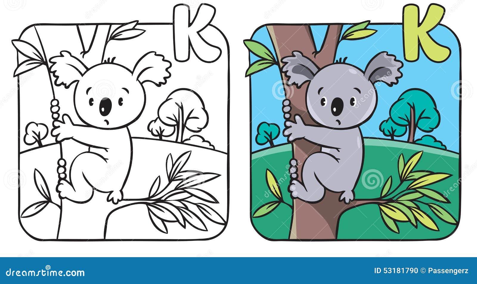 Libro De Colorear Con La Koala Divertida Alfabeto K Ilustración del ...