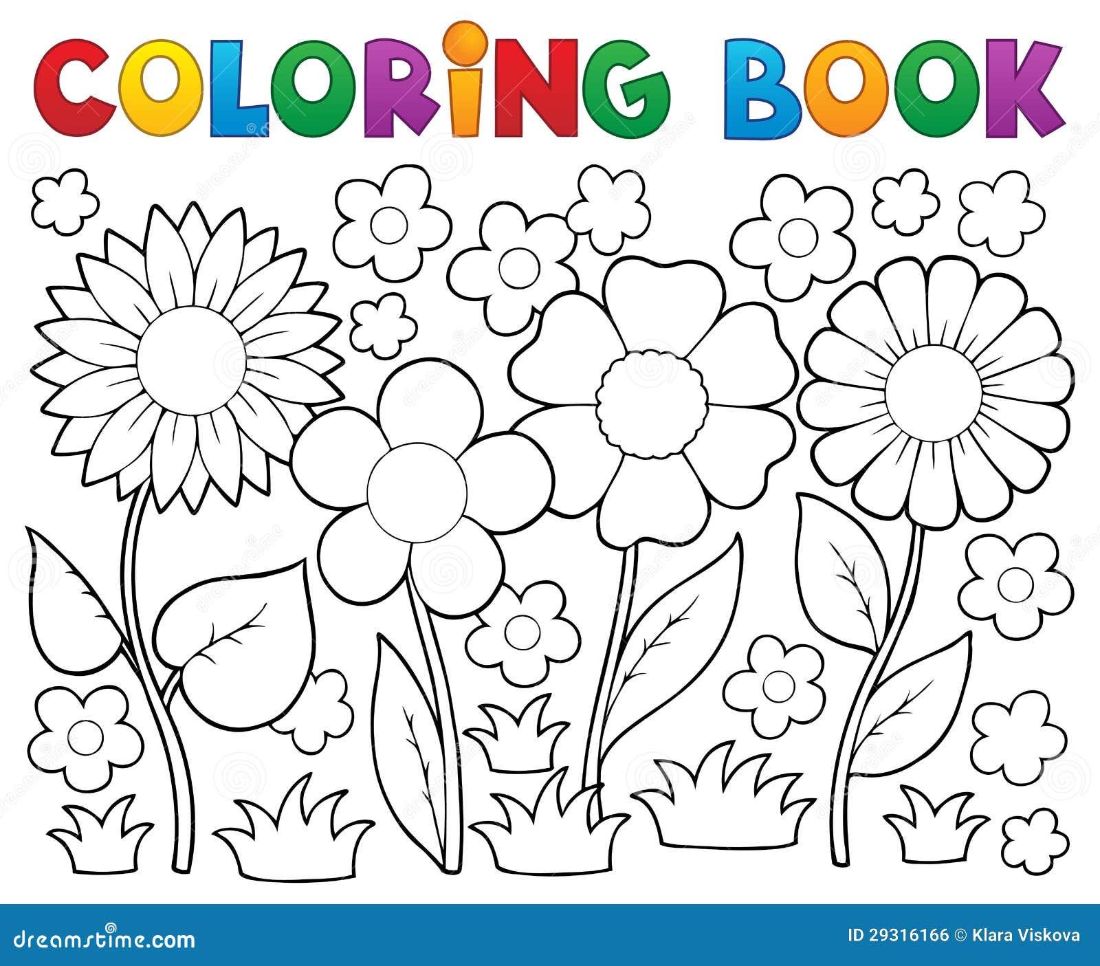 Libro De Colorear Con Tema De La Flor Ilustración del Vector ...