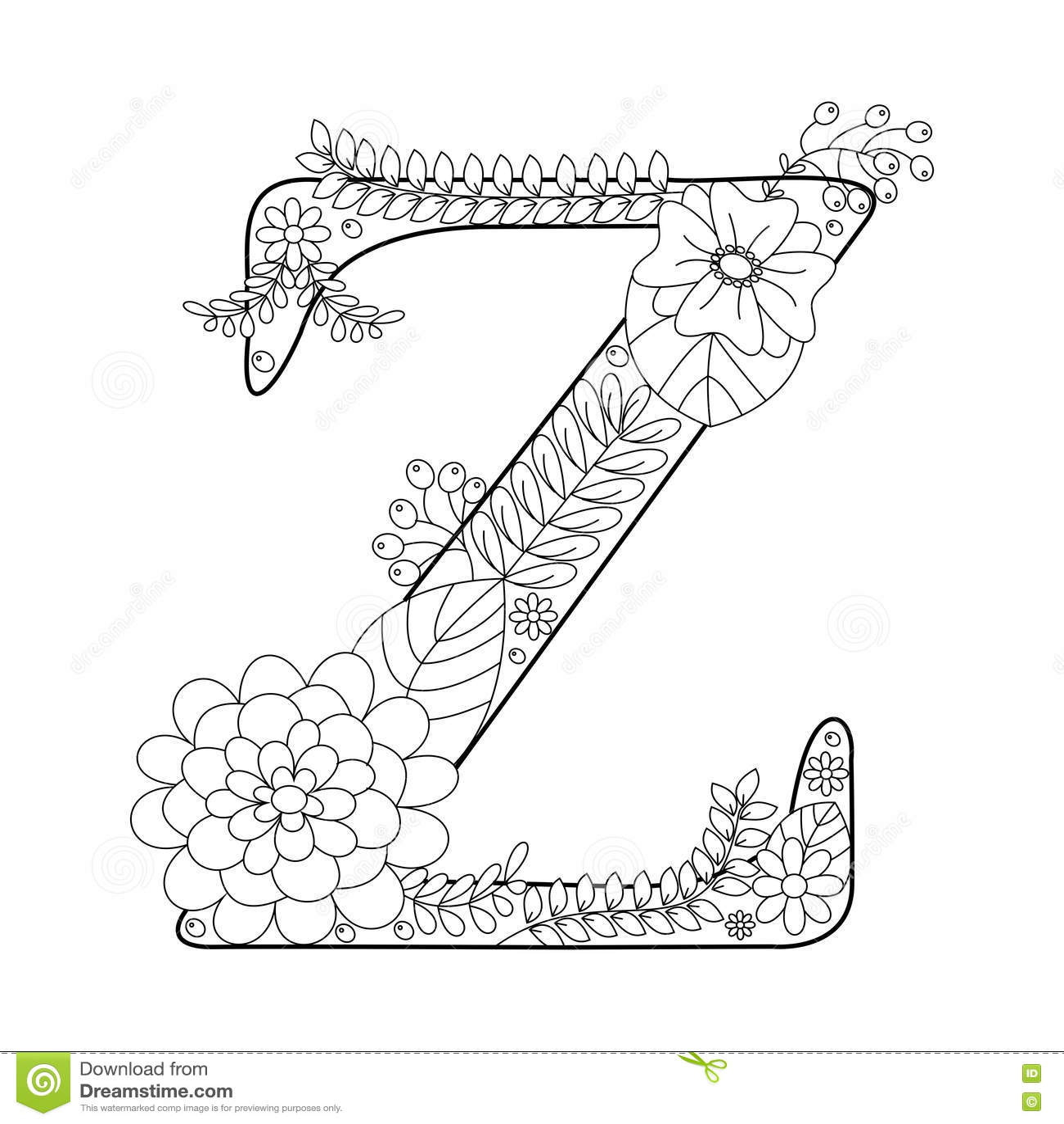 Libro De Colorear De La Letra Z Para El Vector De Los