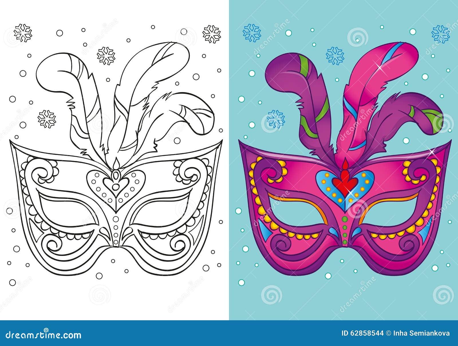 Libro De Colorear De La Máscara Púrpura Del Carnaval De La Navidad ...