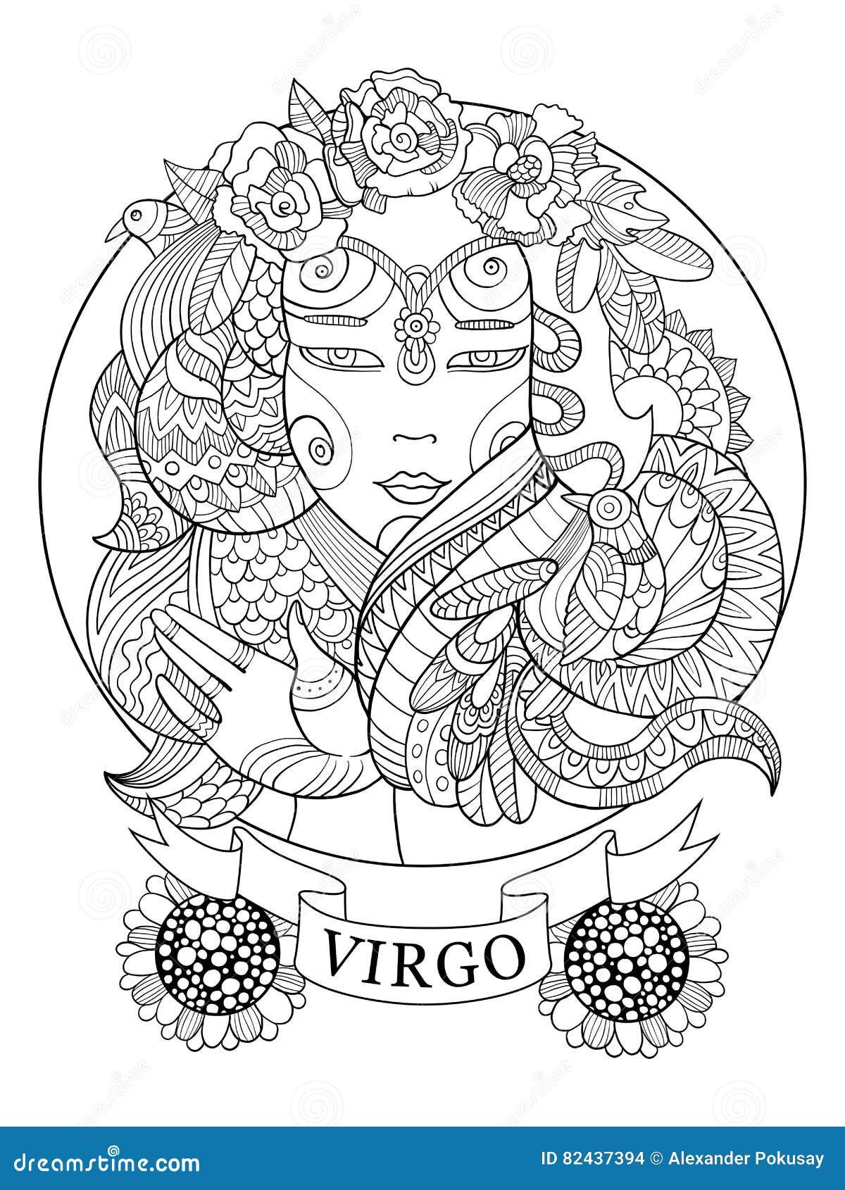 Libro De Colorear De La Muestra Del Zodiaco Del Virgo Para El Vector ...