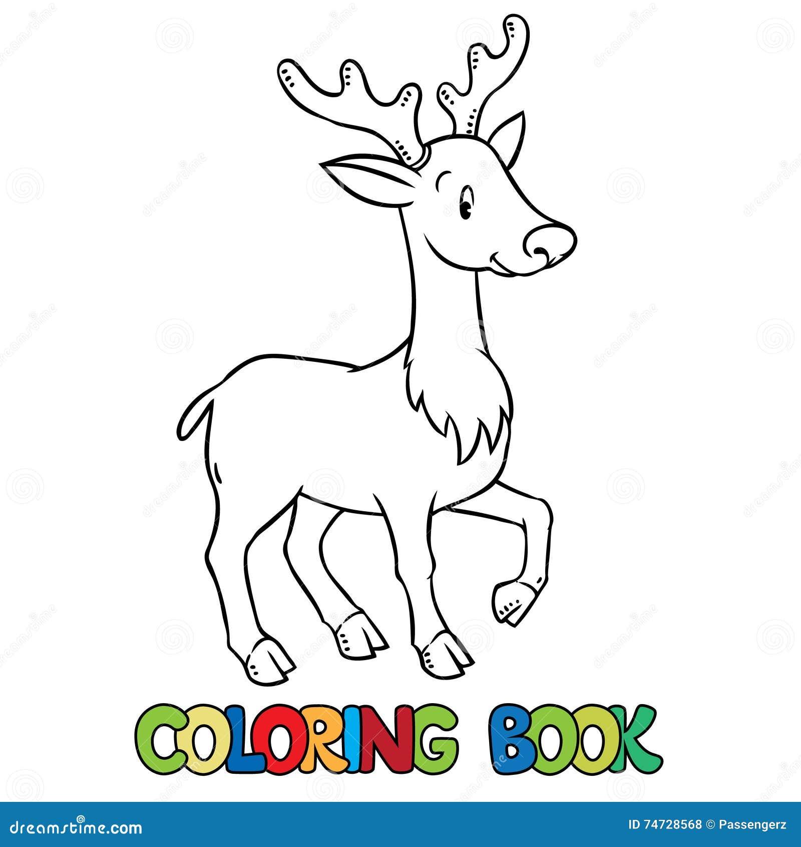 Libro De Colorear De Los Ciervos O Del Cervatillo Jovenes Divertidos ...