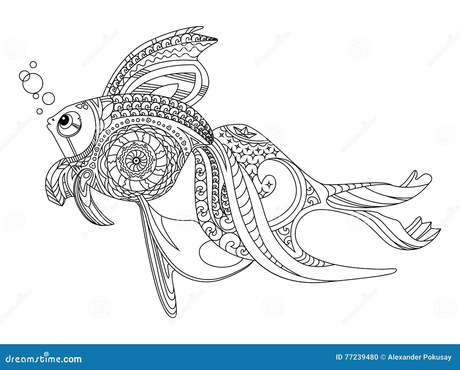 Libro De Colorear De Los Pescados Del Oro Para El Vector De Los ...