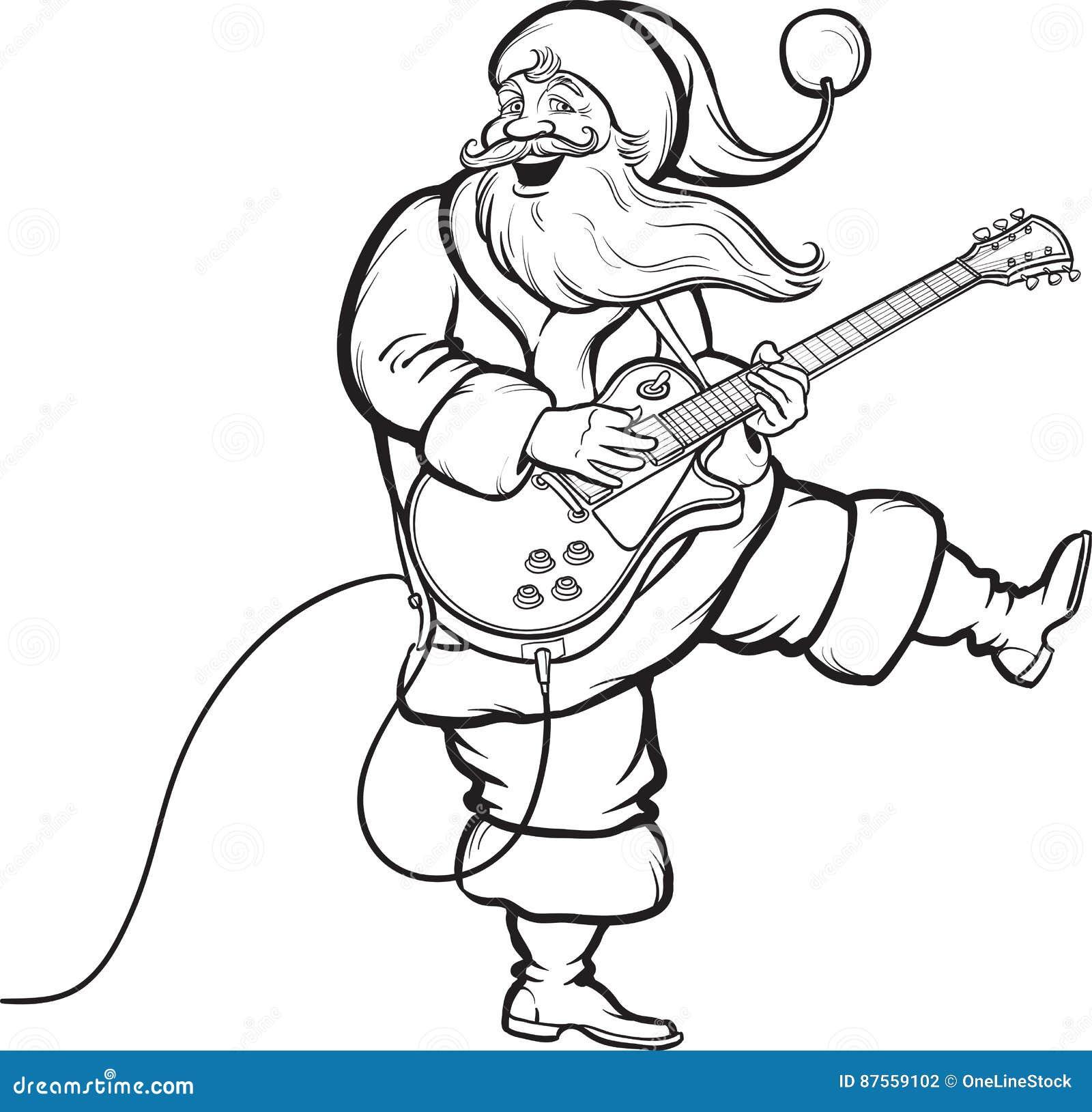 Libro De Colorear De Papá Noel Que Toca La Guitarra Eléctrica ...