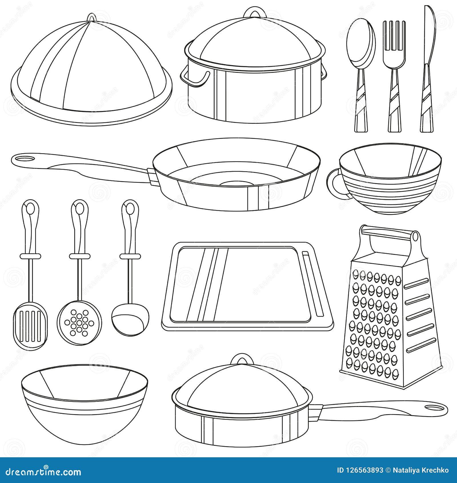 Libro De Colorear Del Artículos De Cocina Ejemplo Del Vector