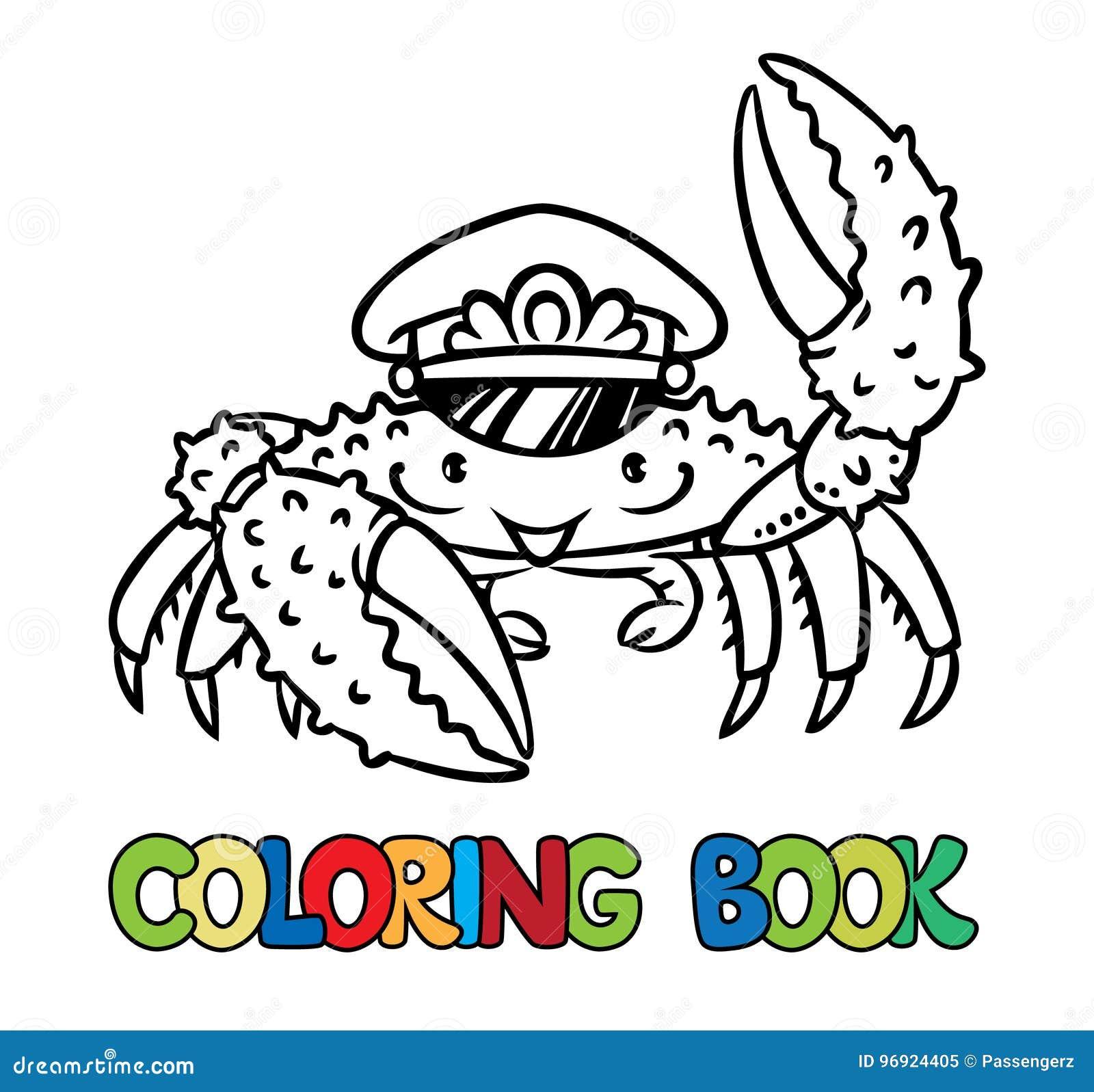 Libro De Colorear Del Cangrejo Ilustración del Vector - Ilustración ...