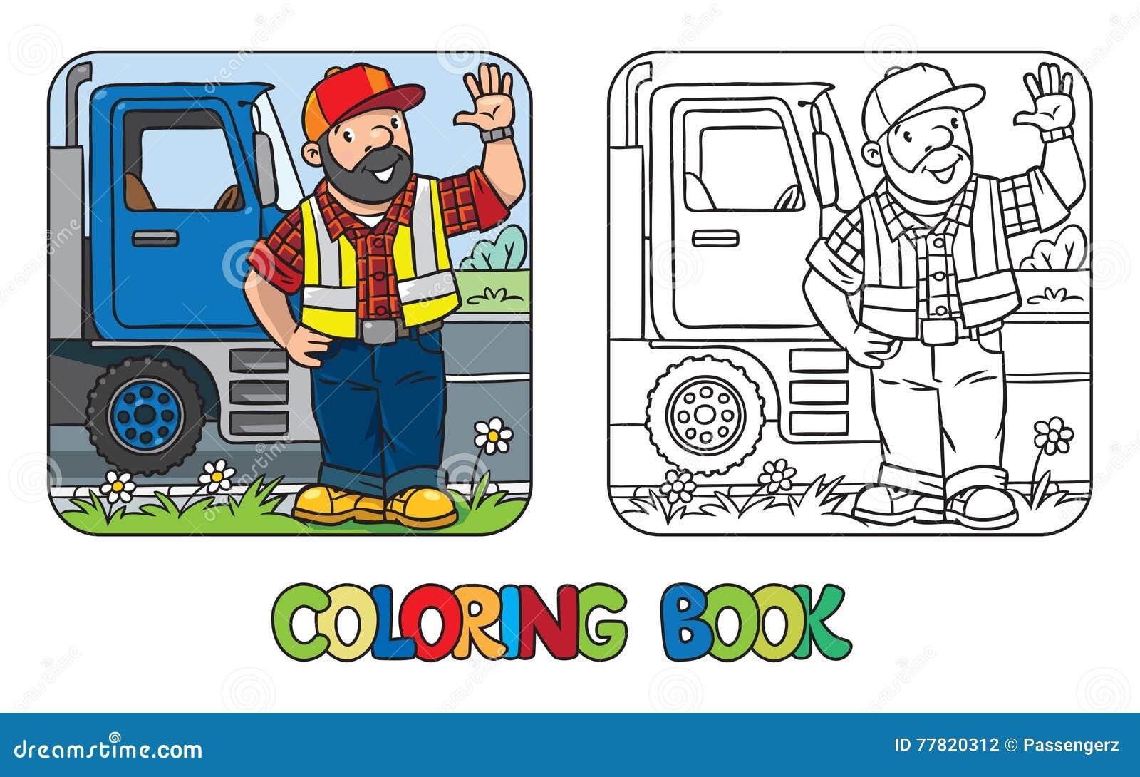 Libro de colorear del conductor o del trabajador divertido