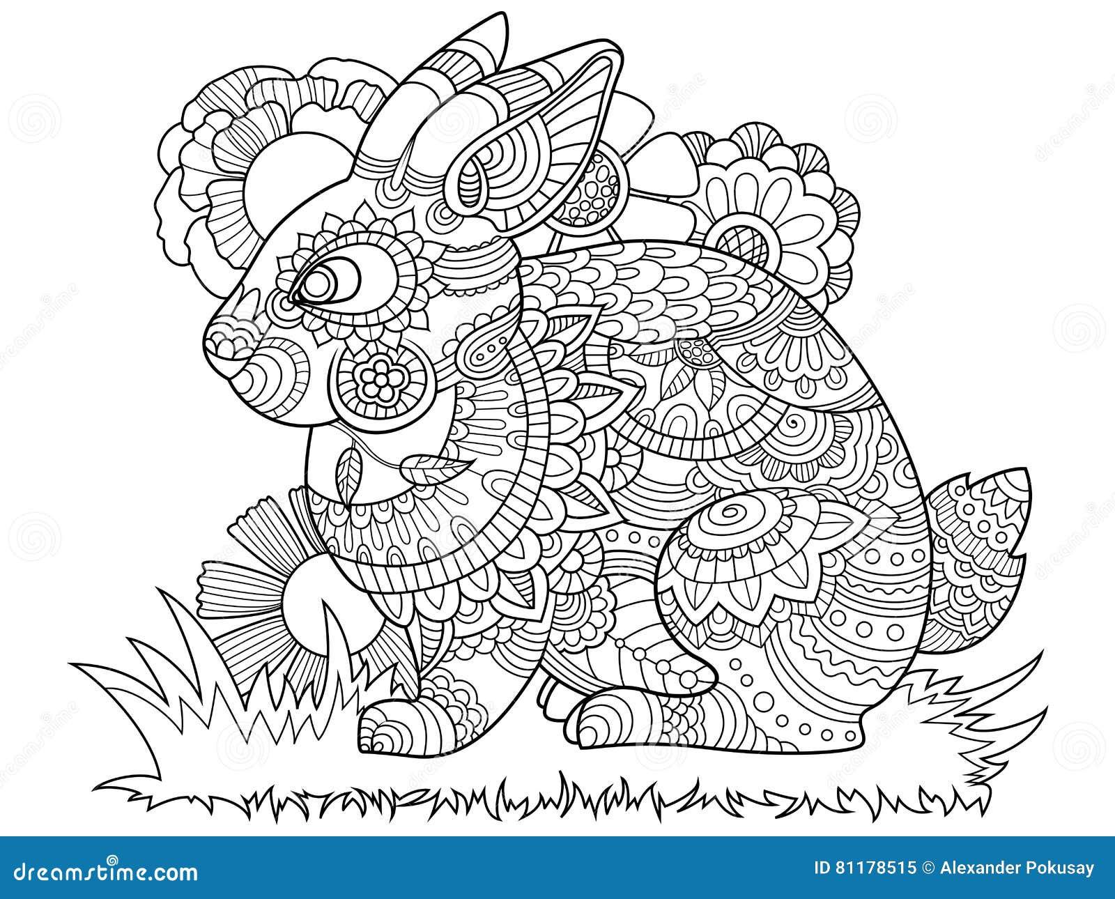 Libro De Colorear Del Conejito Del Conejo Para El Vector De Los ...