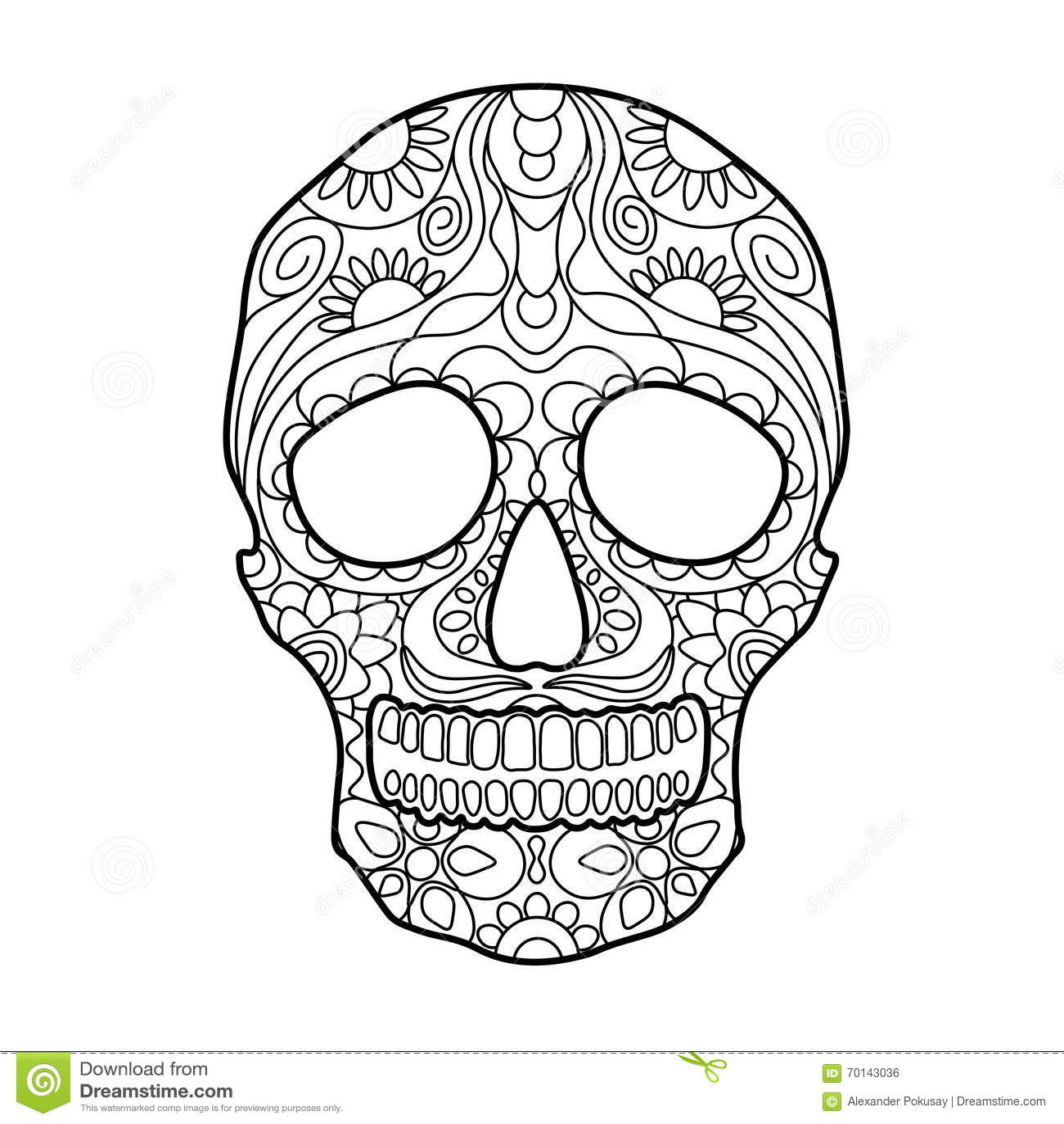 Libro De Colorear Del Cráneo Para El Vector De Los Adultos ...