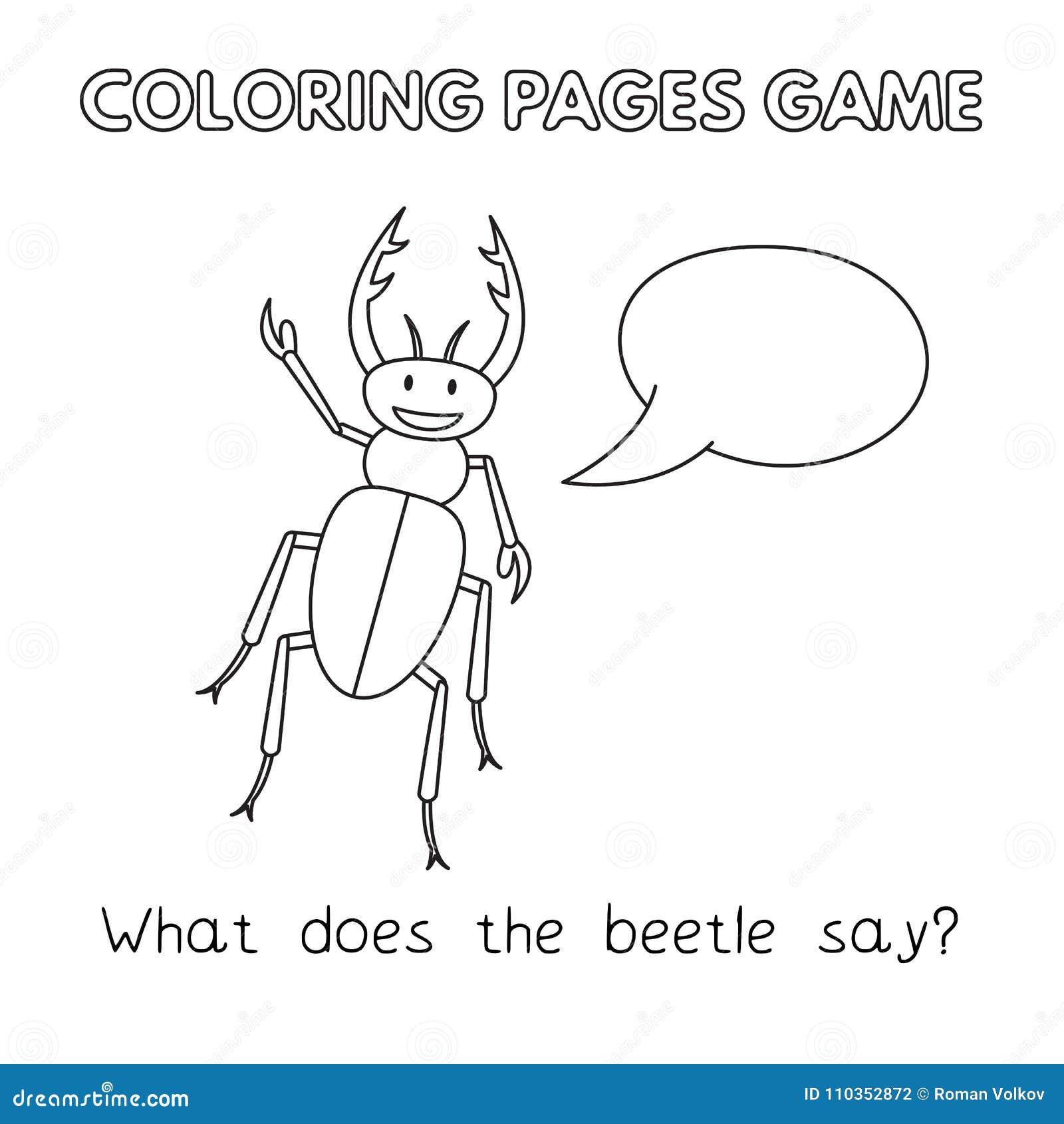 Libro De Colorear Del Escarabajo De La Historieta Ilustración del ...