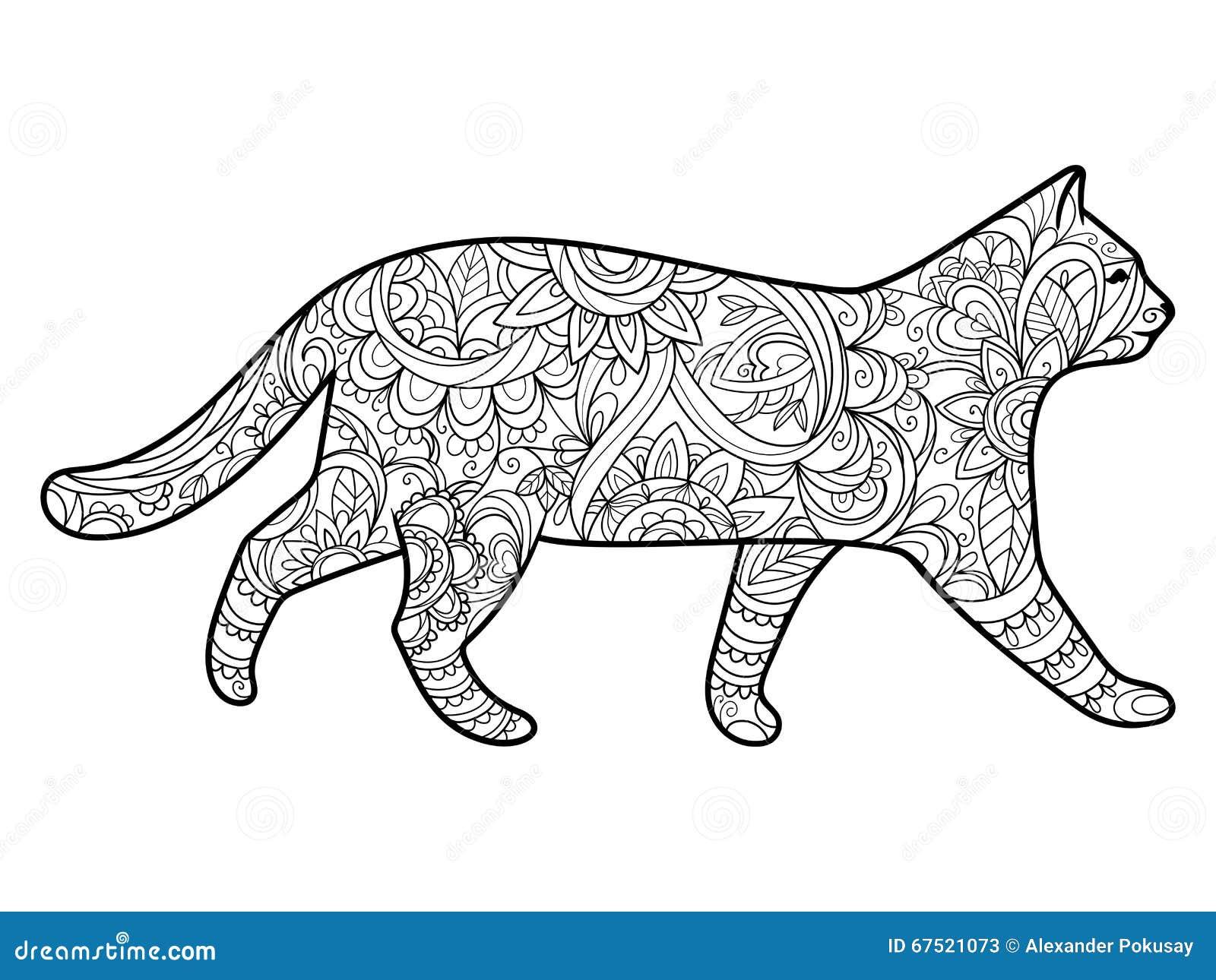 Libro De Colorear Del Gato Para El Vector De Los Adultos Ilustración ...