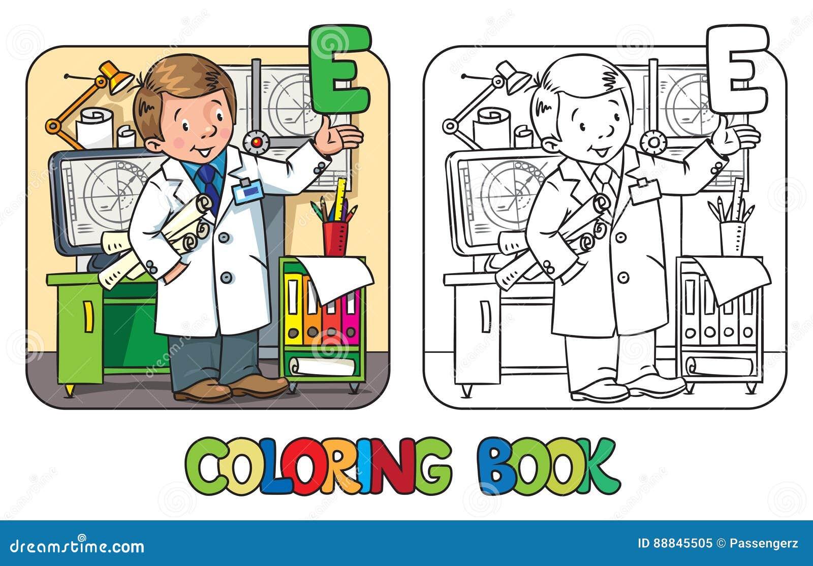 Libro De Colorear Del Ingeniero Serie De Abc De La Profesión Stock