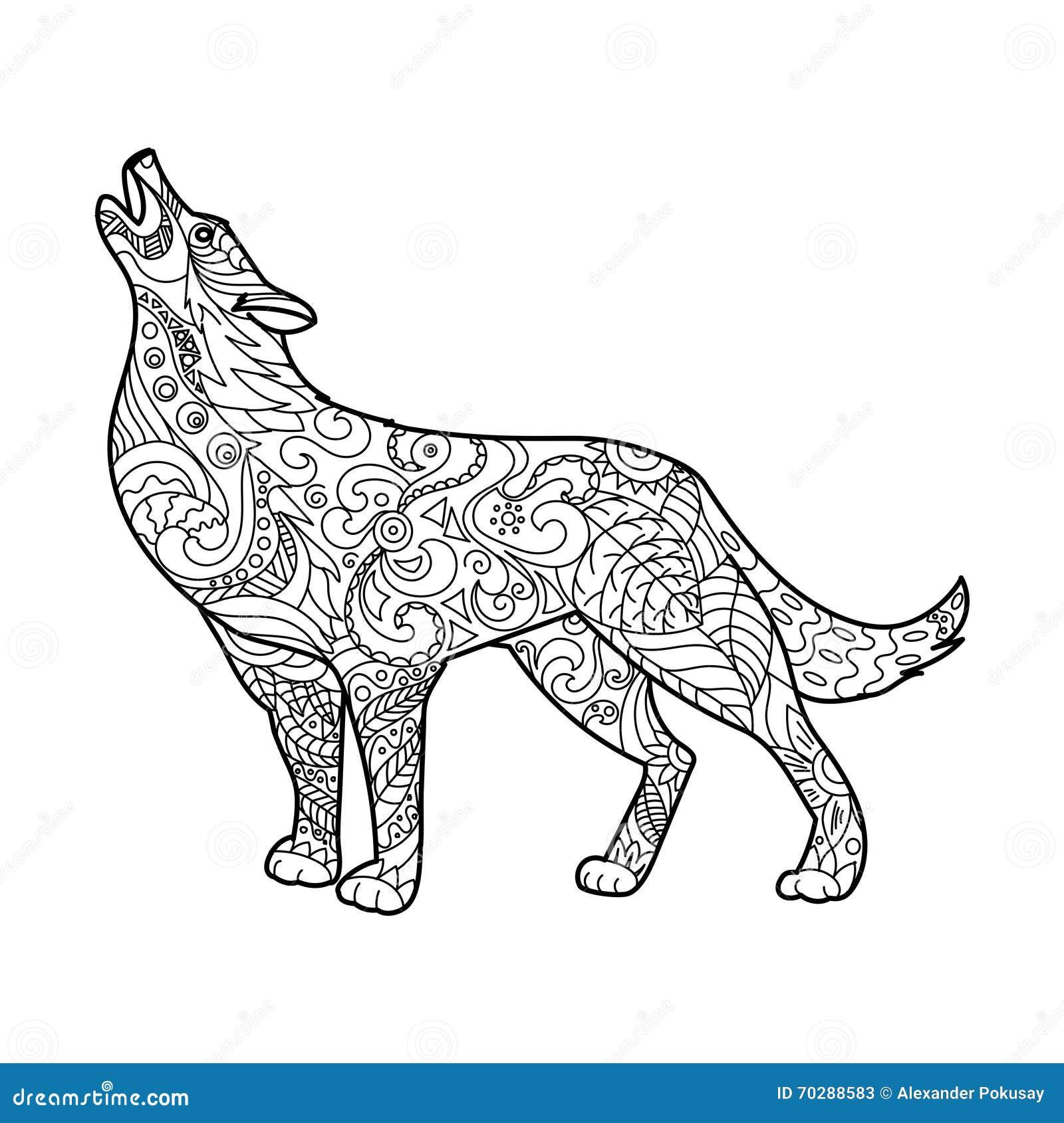 Libro De Colorear Del Lobo Para El Vector De Los Adultos Ilustración